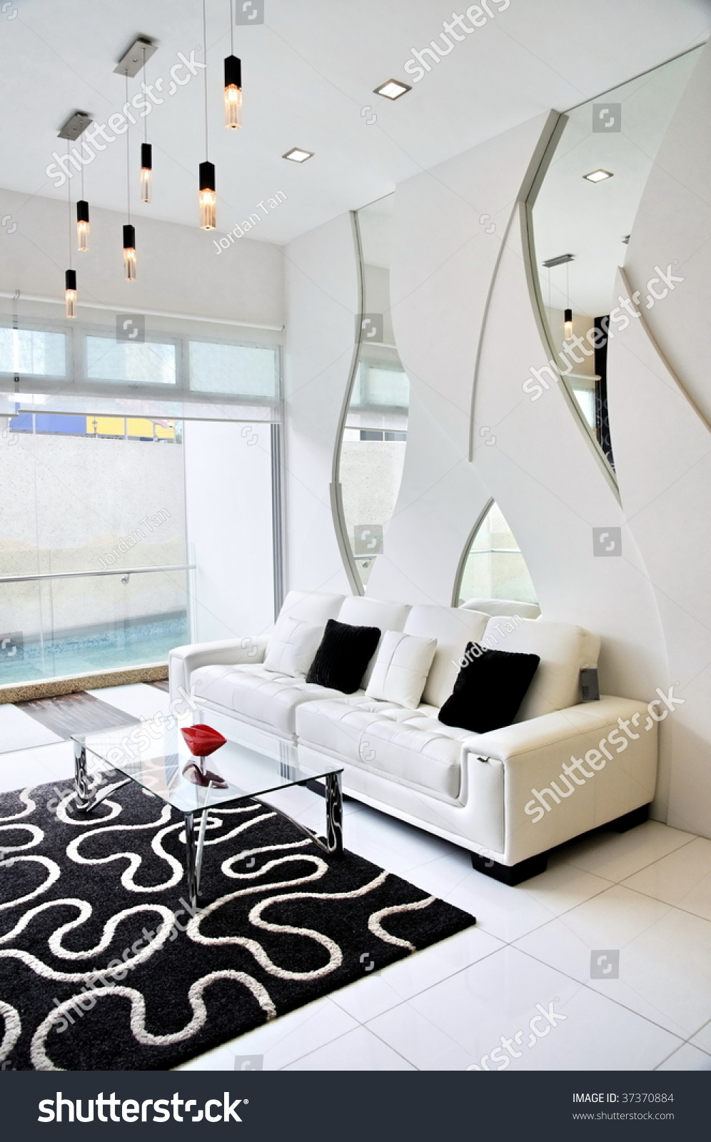 Living room with black and white theme in a luxury - Living room black and white theme ...