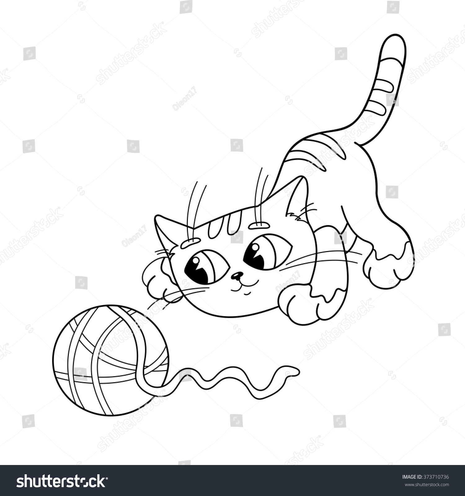 coloring page outline of a cartoon cat playing with ball of yarn coloring book for