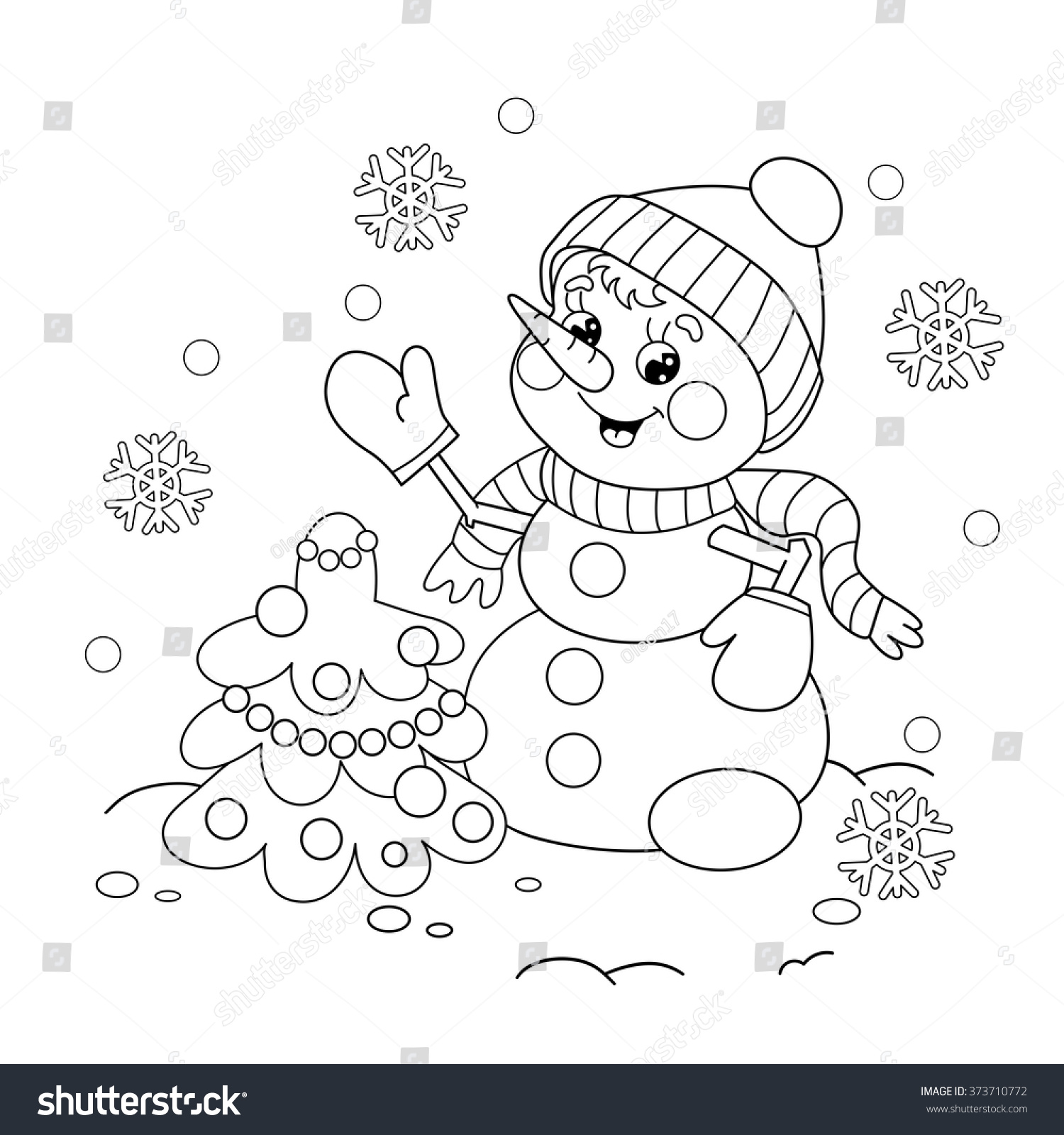 Coloring Christmas Card With Snowman Stock Vector: Coloring Page Outline Cartoon Snowman Christmas Stock