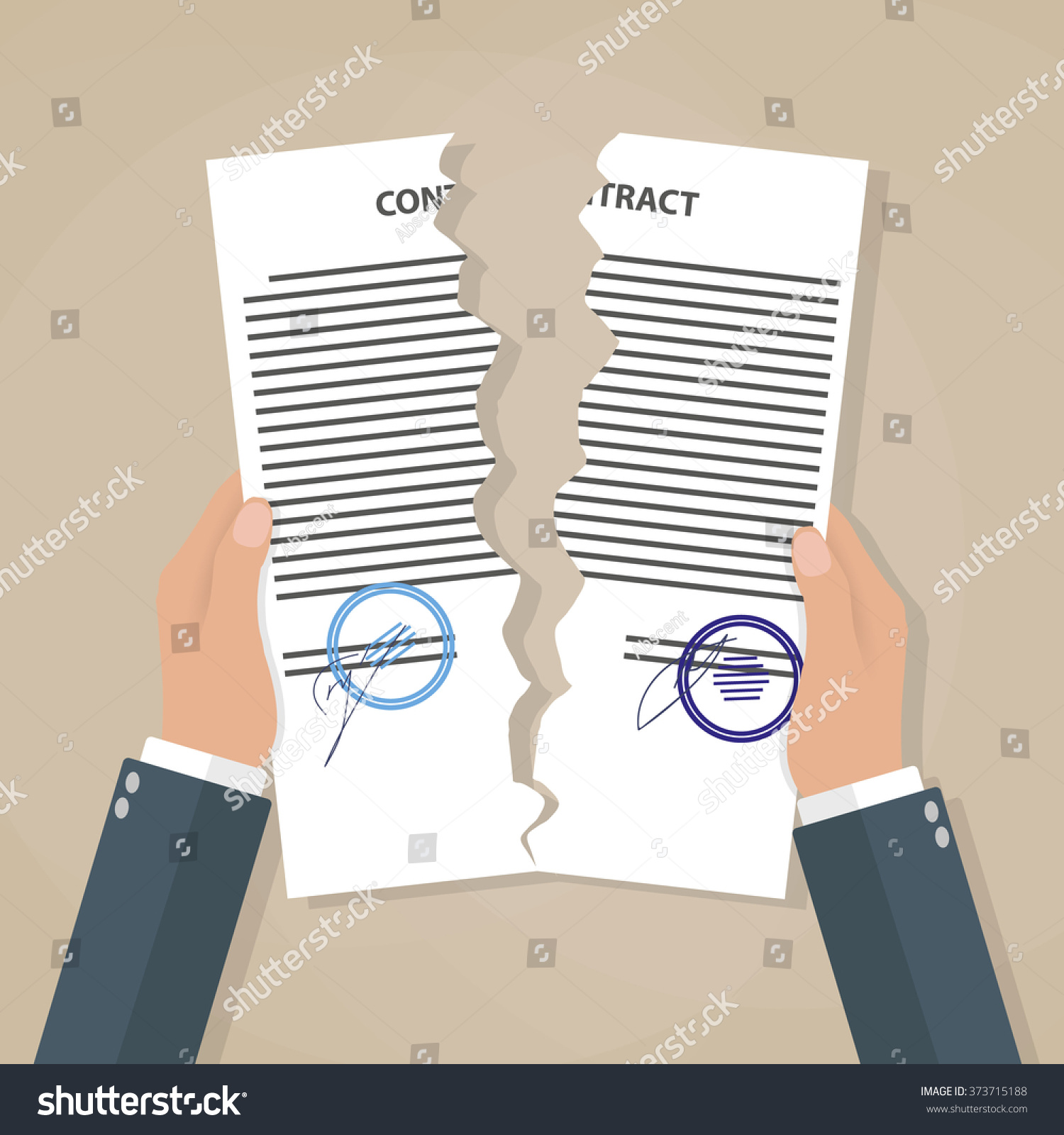 cartoon businessman hands tearing apart contract stock vector cartoon businessman hands tearing apart contract contract termination concept vector illustration in flat design