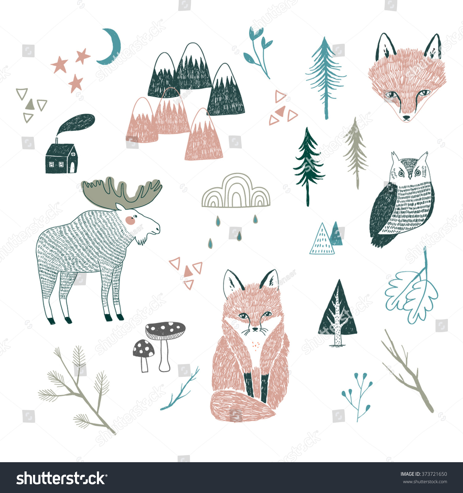 Line Drawings Of Woodland Animals : Vector drawing woodland animals trees mountains stock