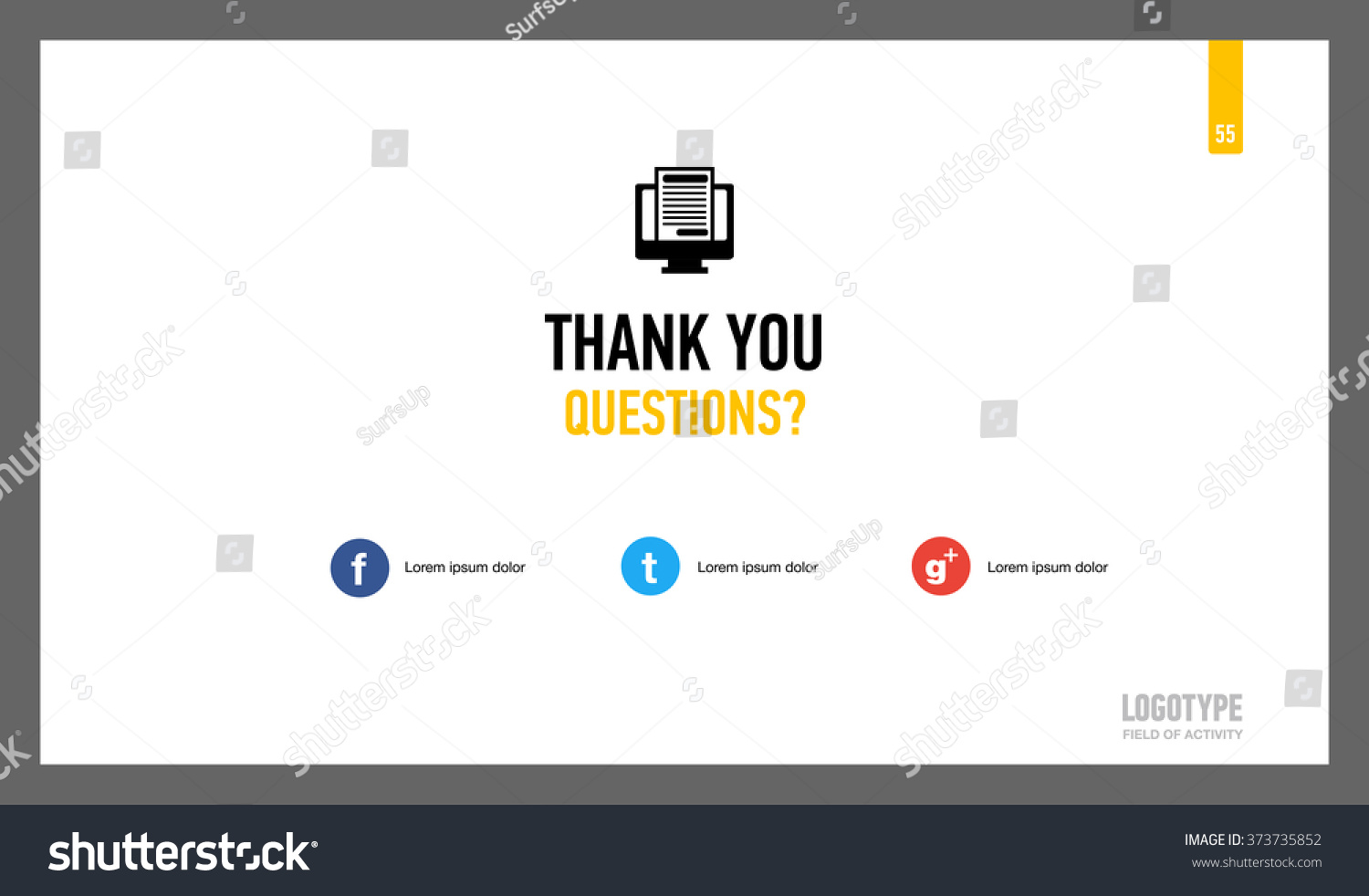 Thank You Page Template Stock Vector Royalty Free 373735852