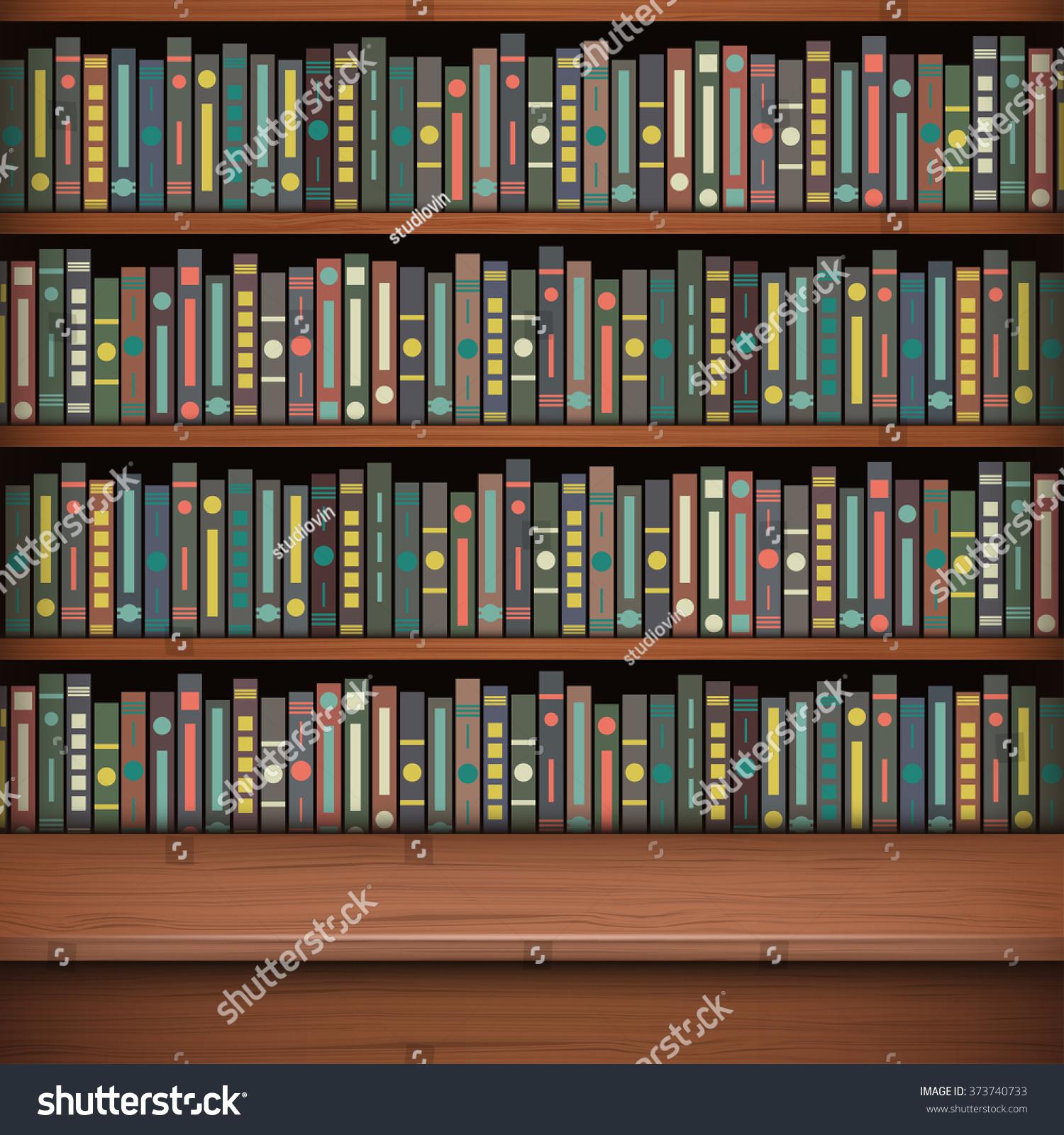 Table on background of bookshelf full of