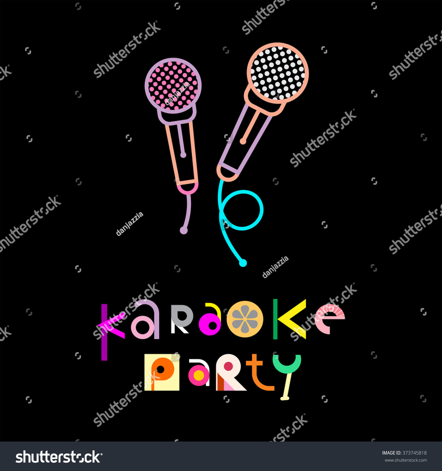 Karaoke Party Decorative Text Architecture On Stock Vector ...