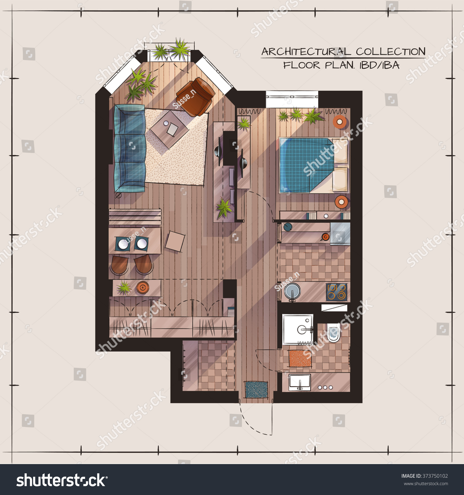 Architectural color floor planstudio apartment one stock for Apartment stock plans