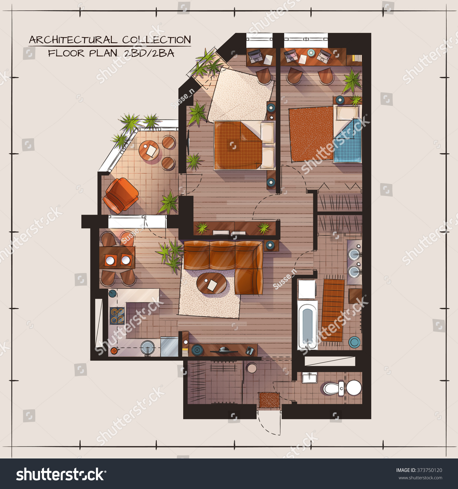 Architectural Color Floor Plan Bedrooms Apartment Stock Vector ...