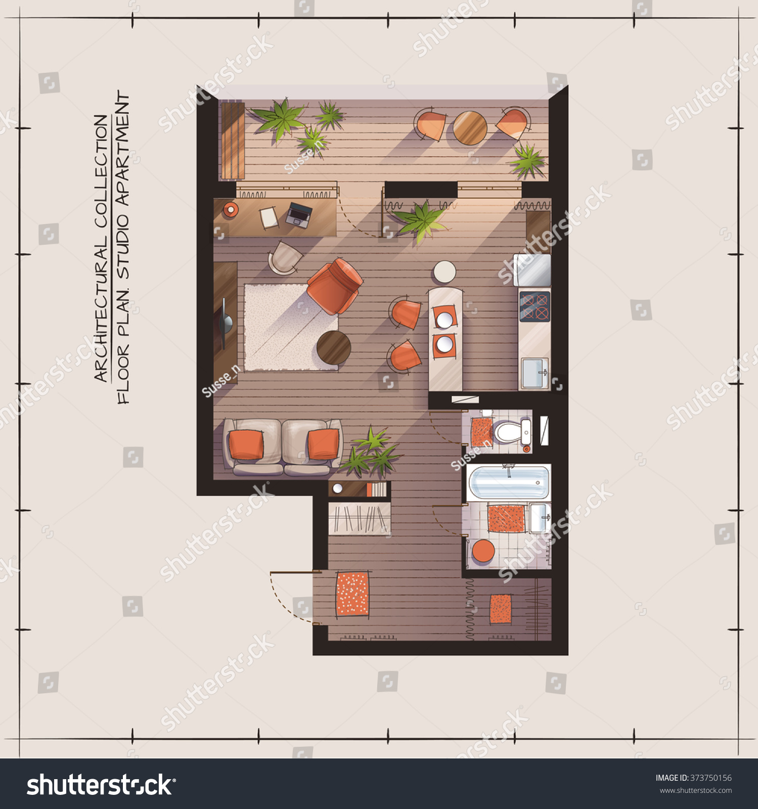 Architectural color floor plan studio apartment stock for Apartment floor plans vector