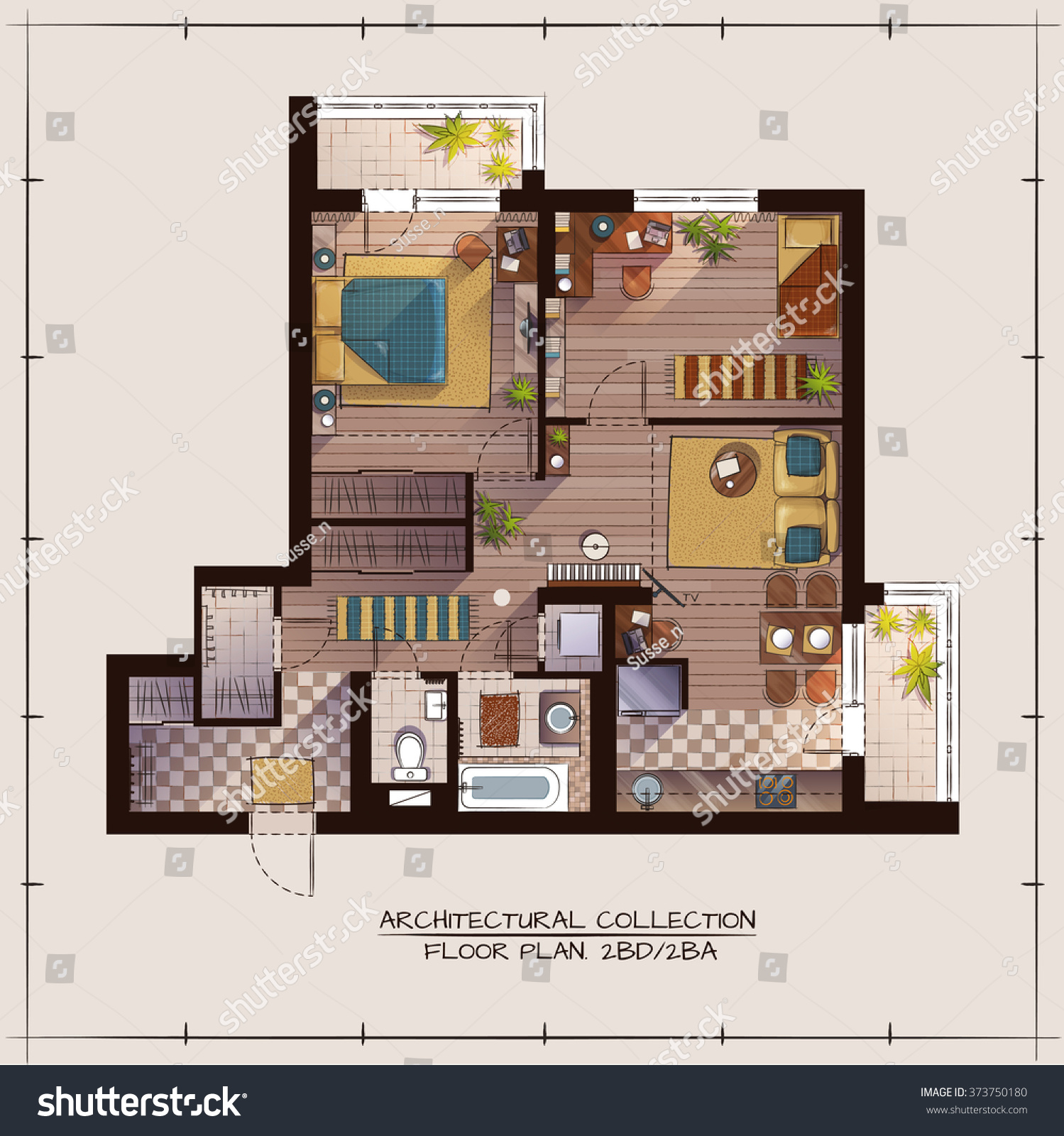 Architectural color floor plan two bedrooms apartment for Apartment stock plans