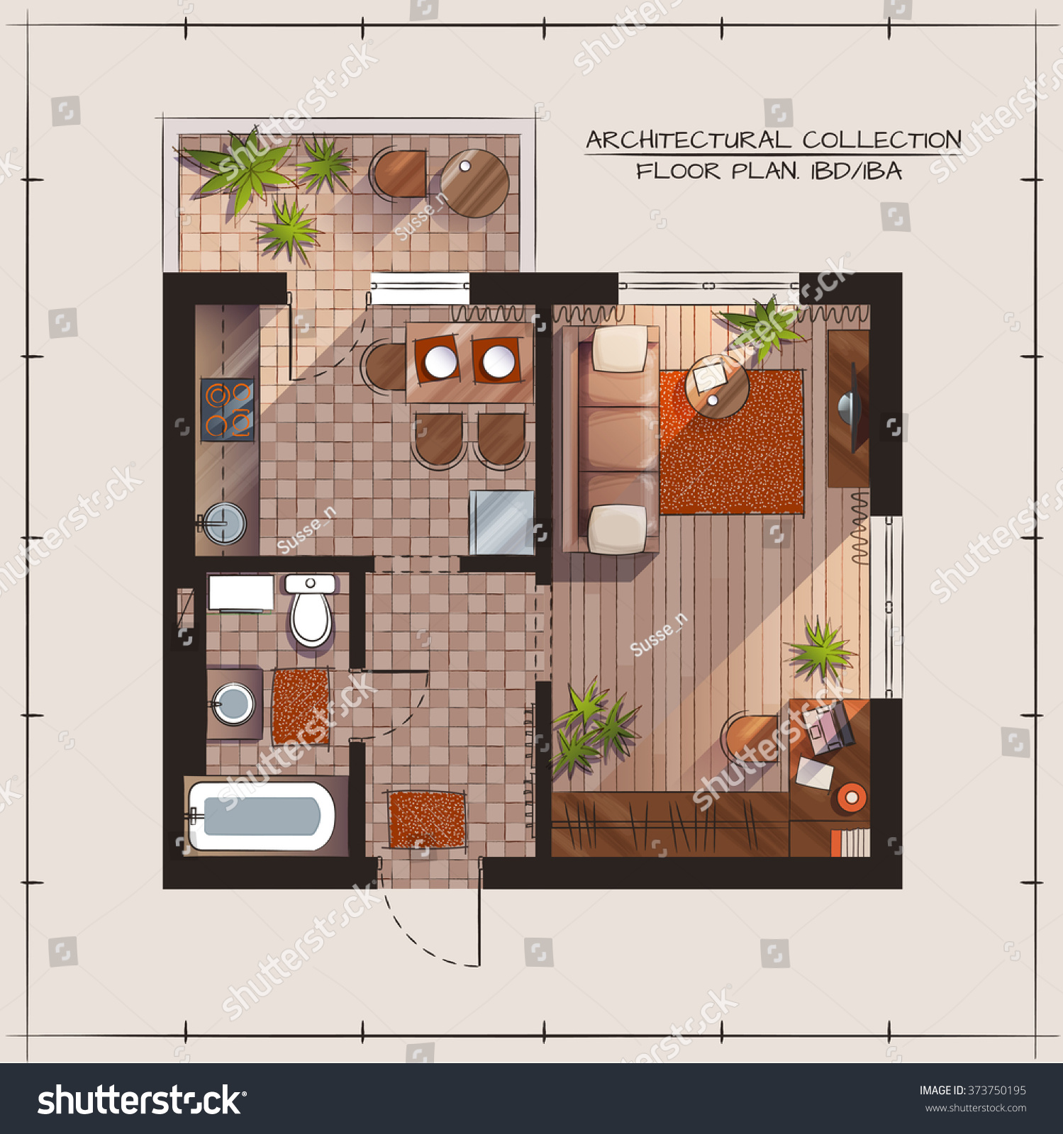 Architectural Color Floor Plan Bedroom Apartment Stock