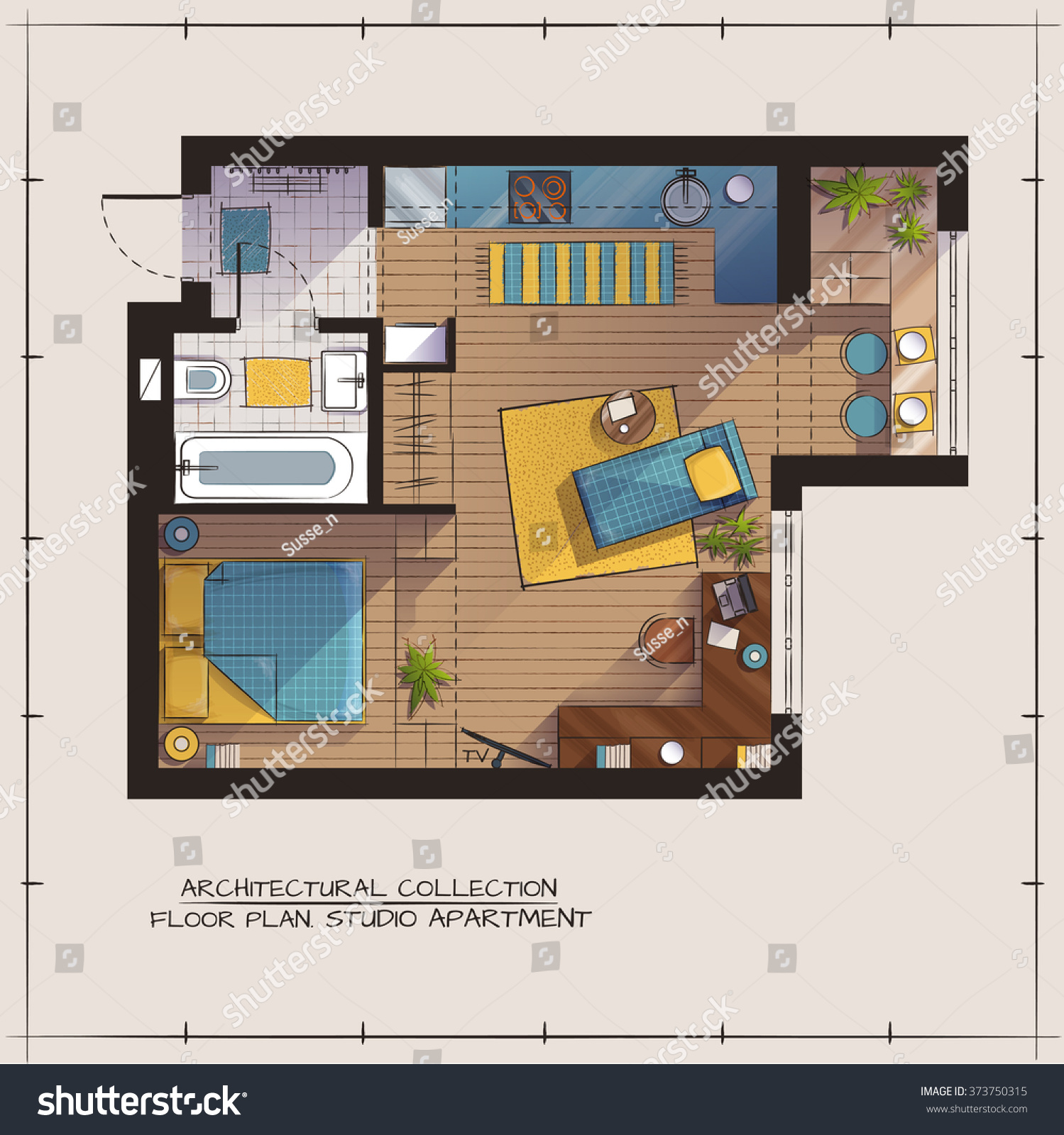 Architectural color floor plan studio apartment with one for Apartment stock plans