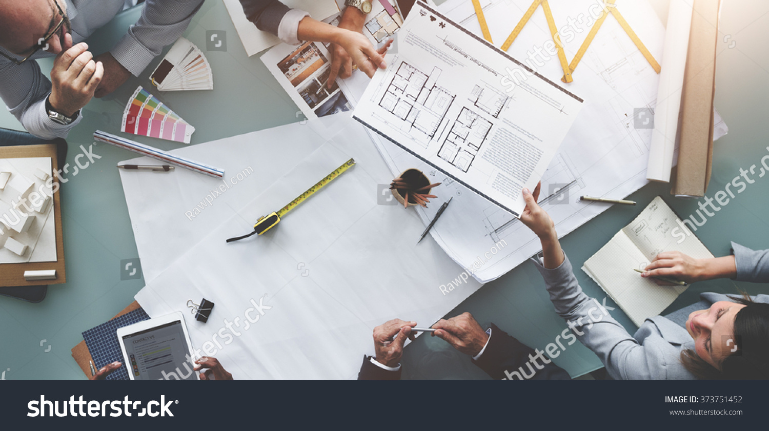 Business people meeting architecture blueprint design stock photo business people meeting architecture blueprint design concept malvernweather Gallery