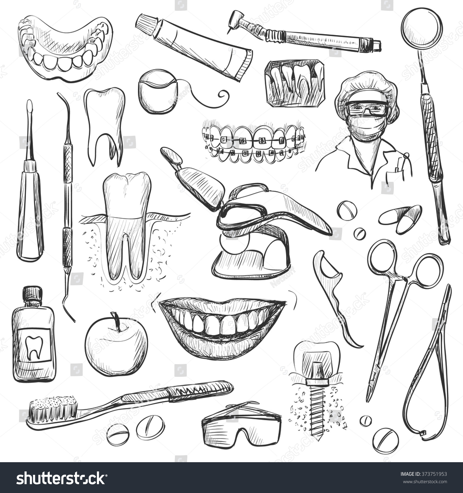 set dentist different dental equipment tooth stock vector
