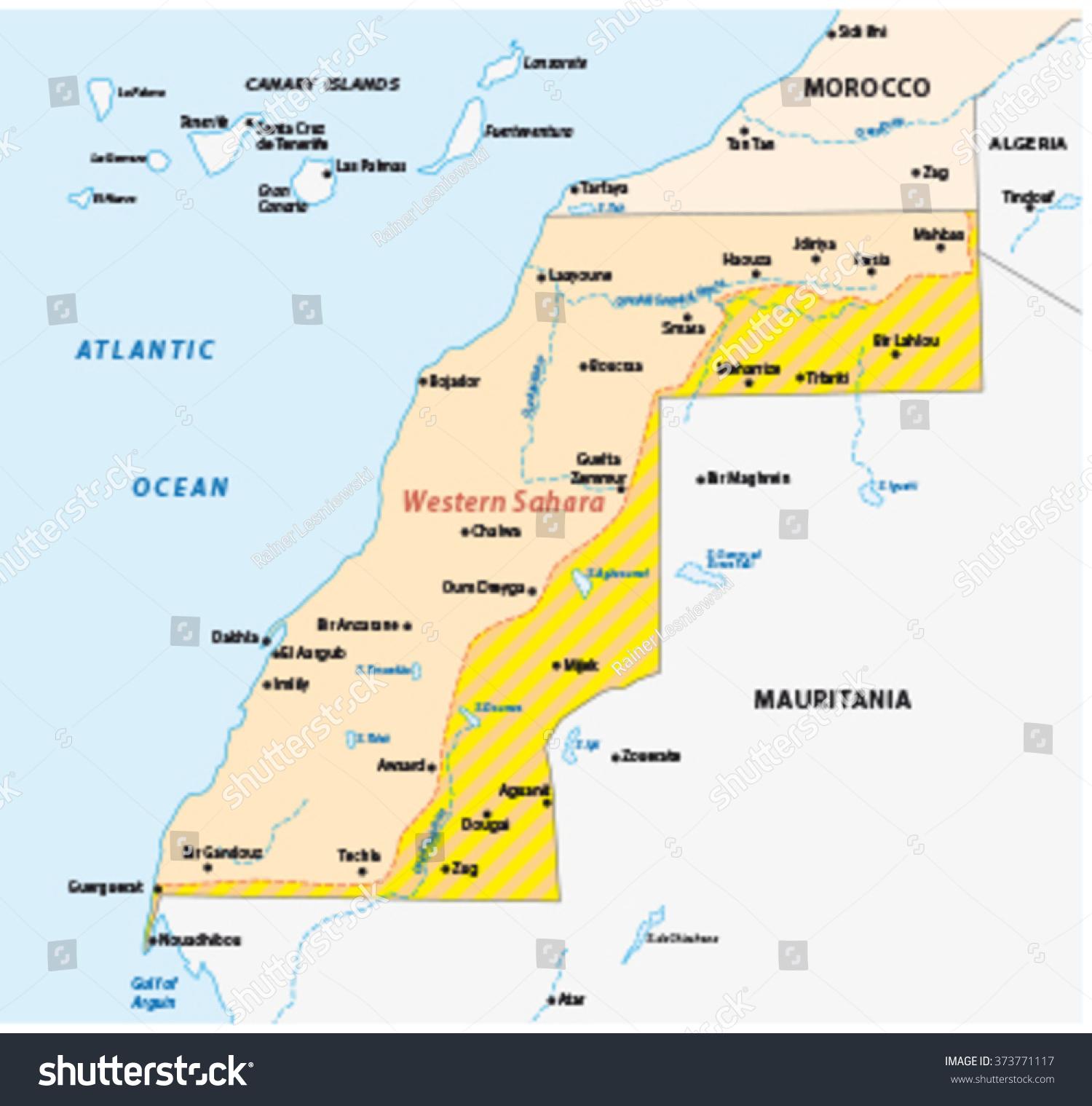 Western Sahara Map Stock Vector Shutterstock - Western sahara map
