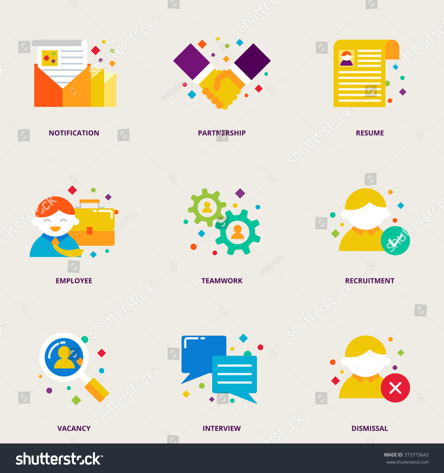 human resources and partnership colorful vector icons set resume human resources and partnership colorful vector icons set resume employee teamwork recruitment