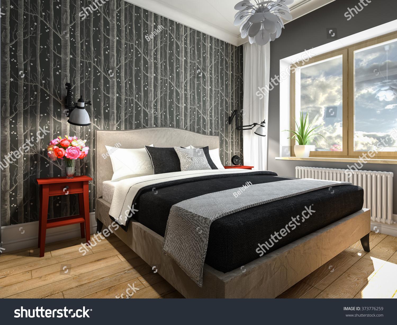 Gray Red Bedroom 3D Rendering
