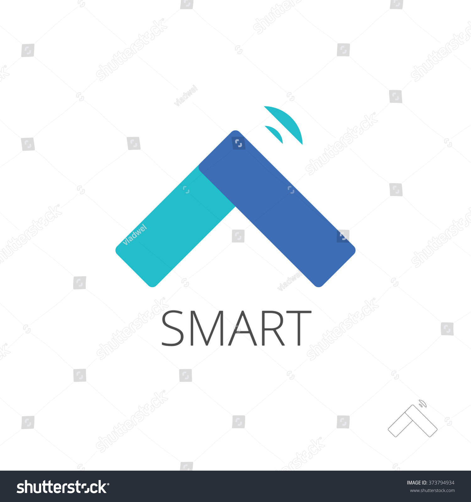 Flat smart home control logo template stock illustration for Internet house