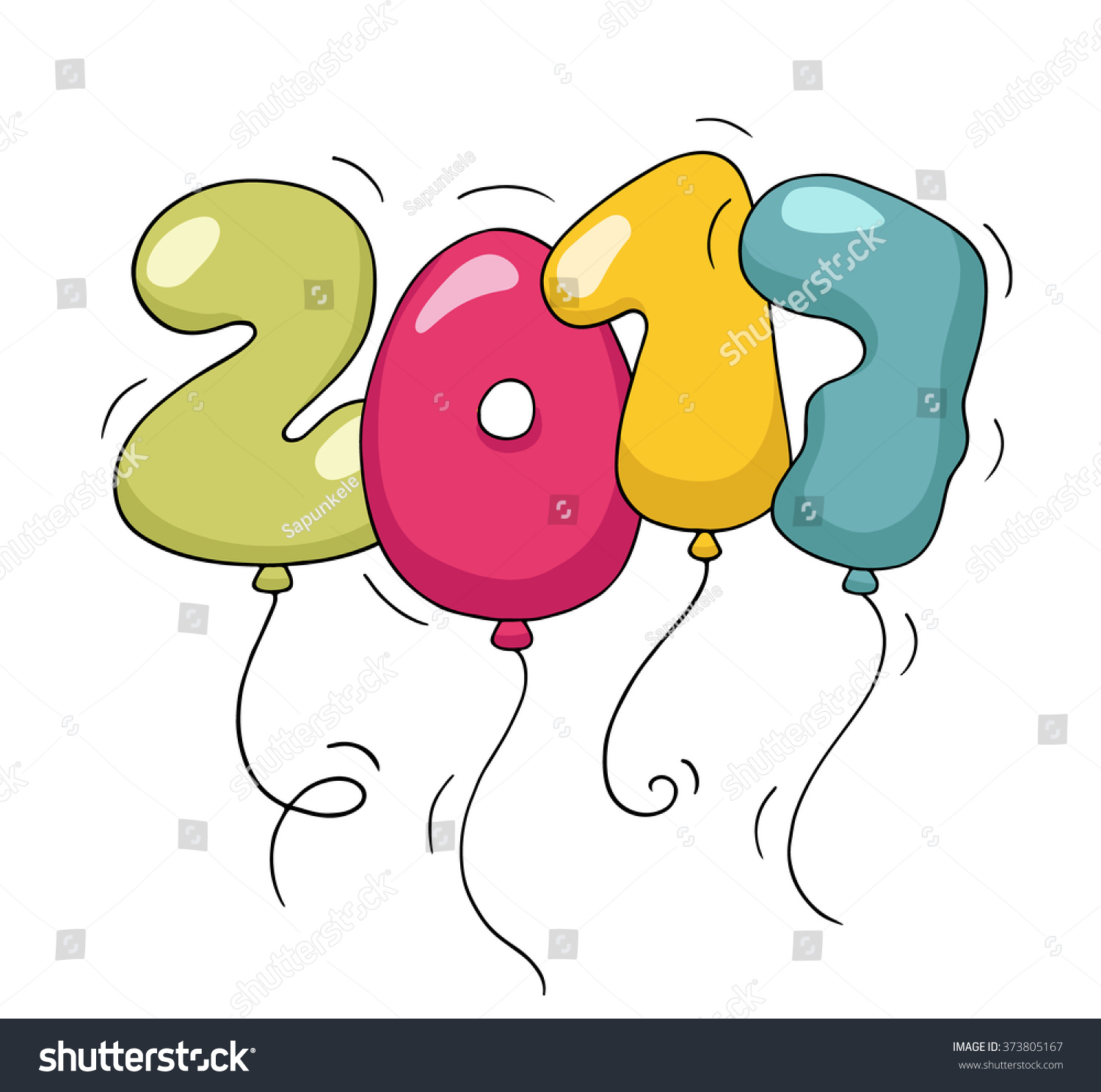 Cute colorful bubble shaped numbers for New Year Eve template. Cartoon ...