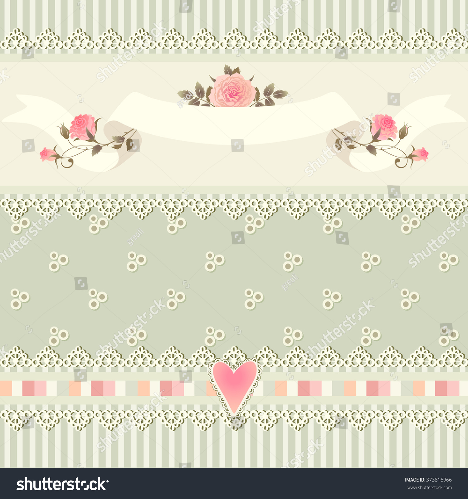 Seamless Floral Border Shabby Chic Style Stock Vector 373816966