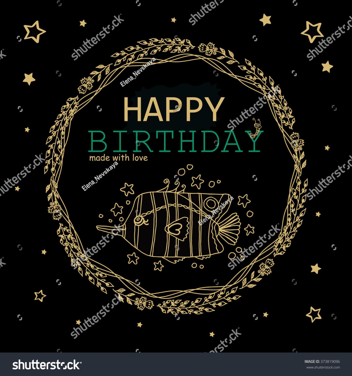 Happy Birthday Greeting Card Black Gold Stock Vector Royalty Free