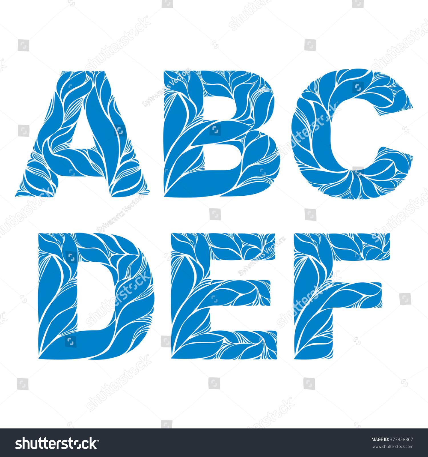Blue Delicate Capital Letters Marine Ornament Stock Vector ...