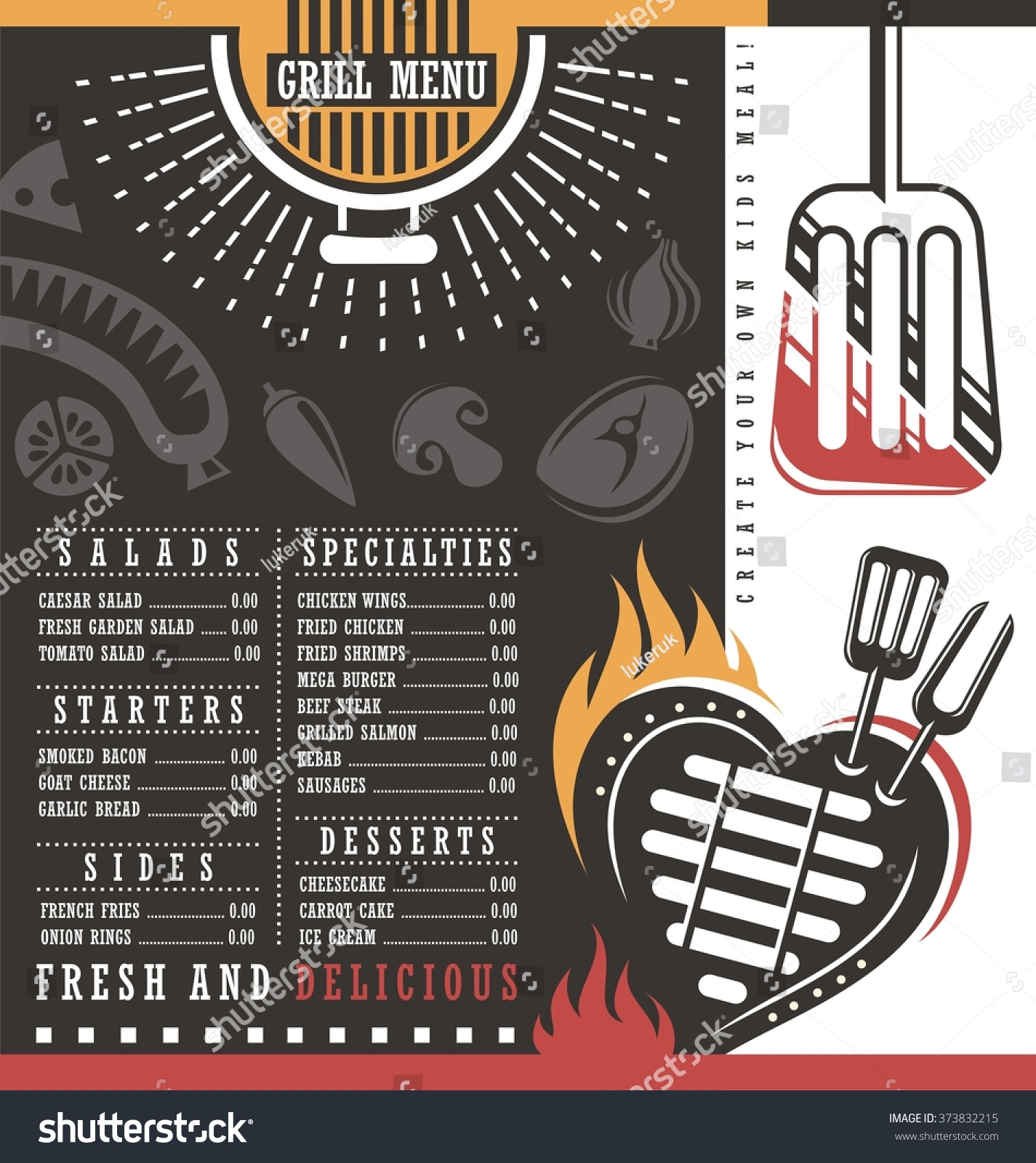 Grill menu design abstract bbq layout concept for