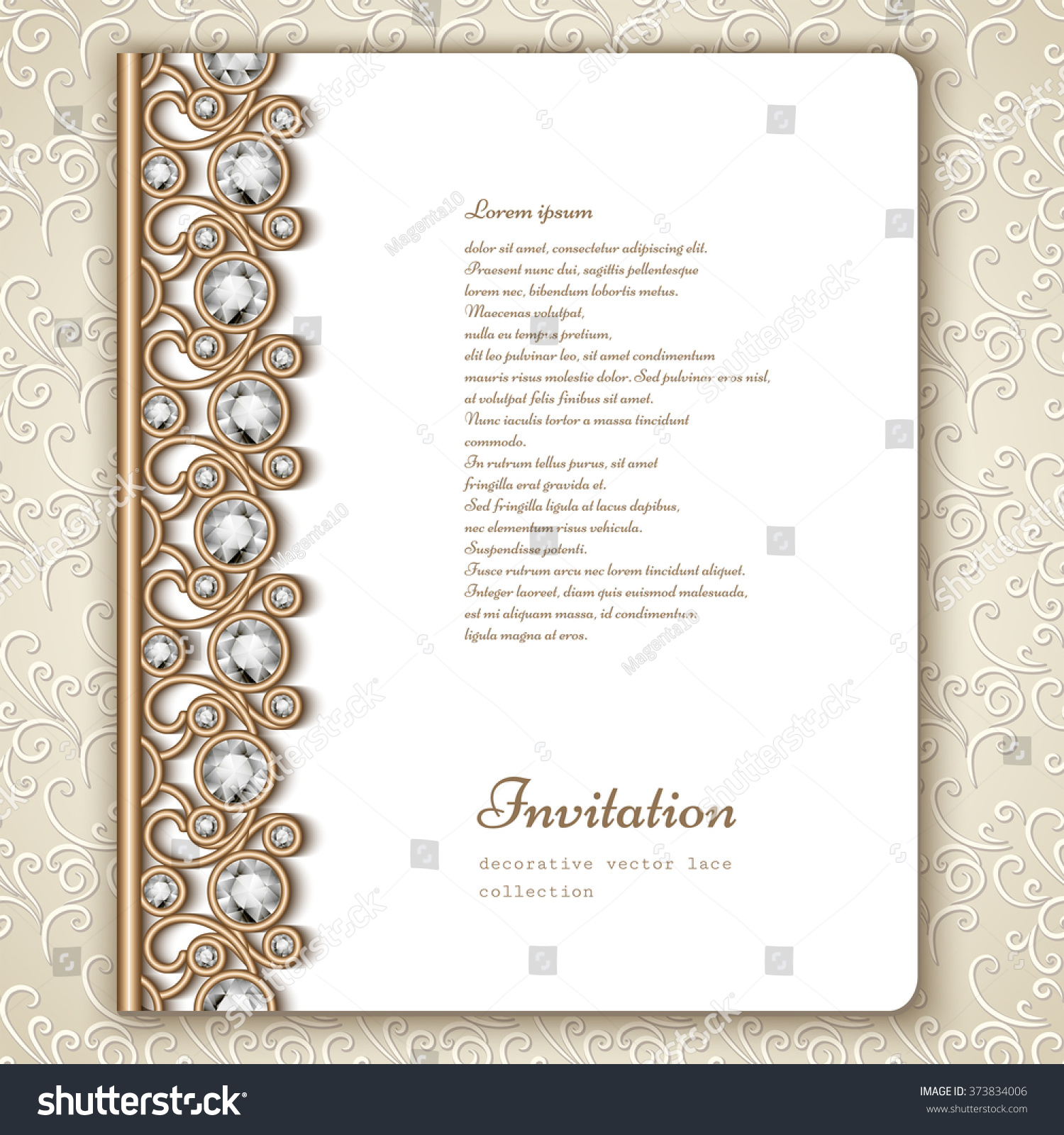 Wedding Book Cover Template ~ Book cover jewelry gold border ornament stock vector