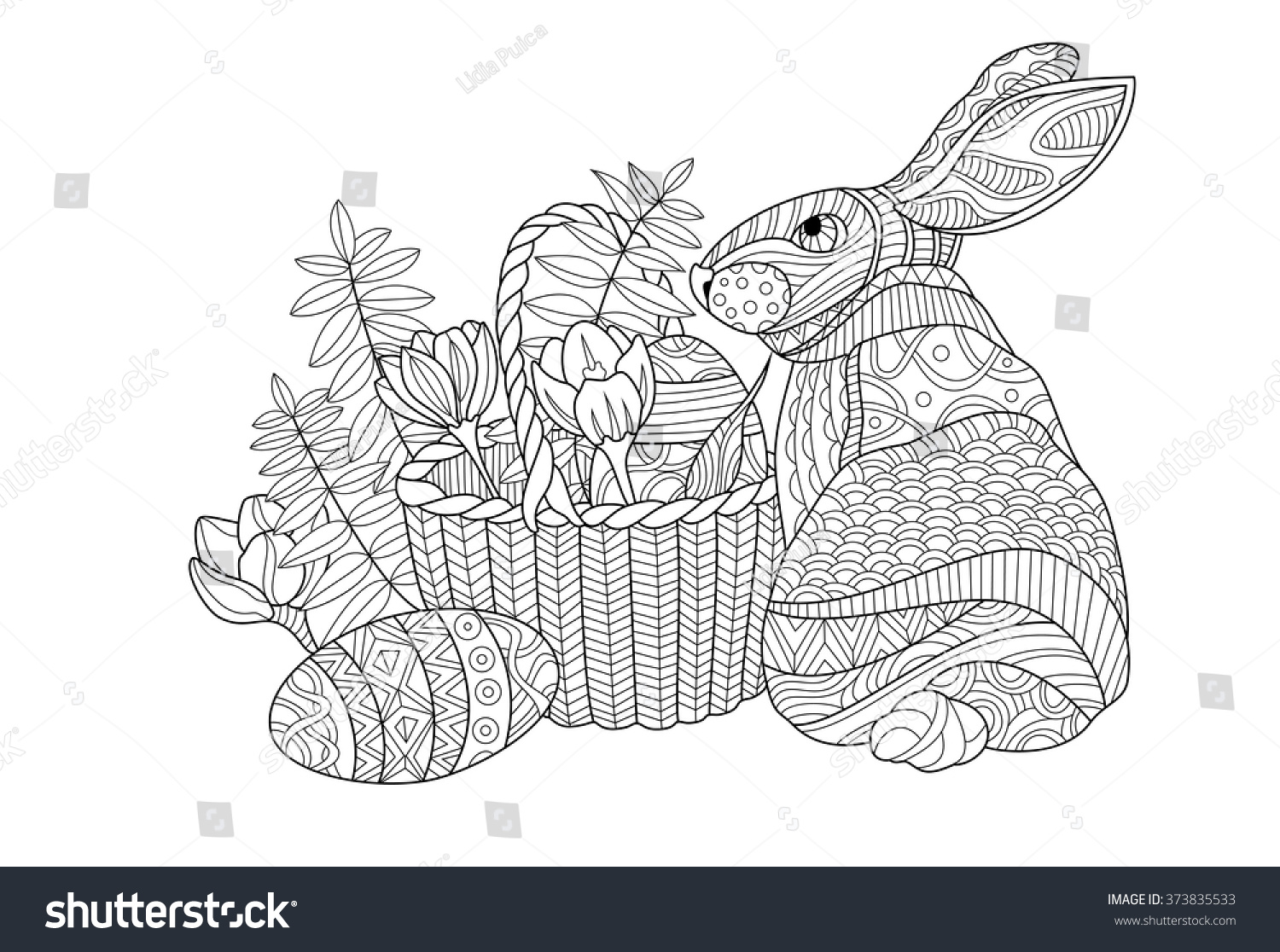 Easter Bunny Coloring Page Illustration Stock Vector 373835533 ...