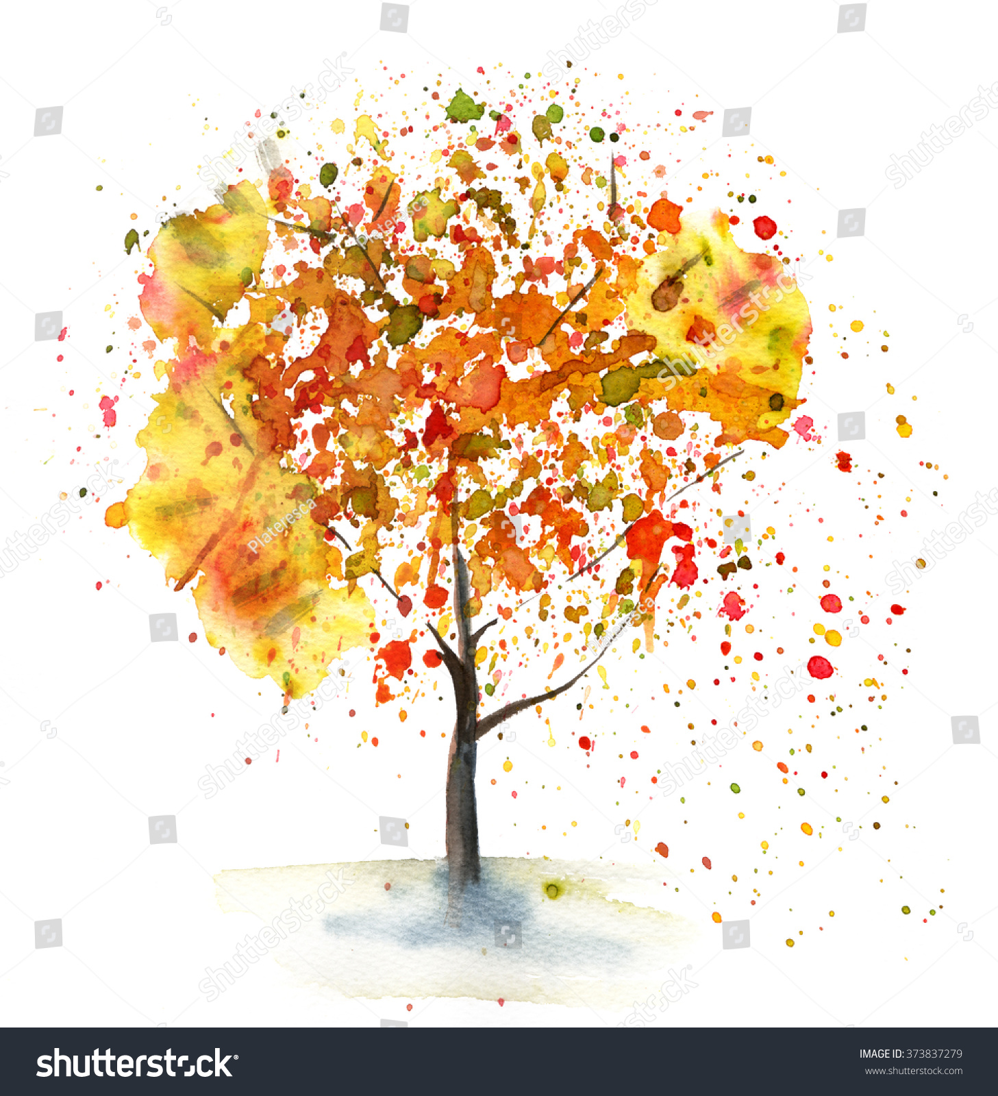 Watercolor Drawing Autumn Tree Hand Drawn Stock Illustration ... for Tree Drawing With Watercolor  270bof
