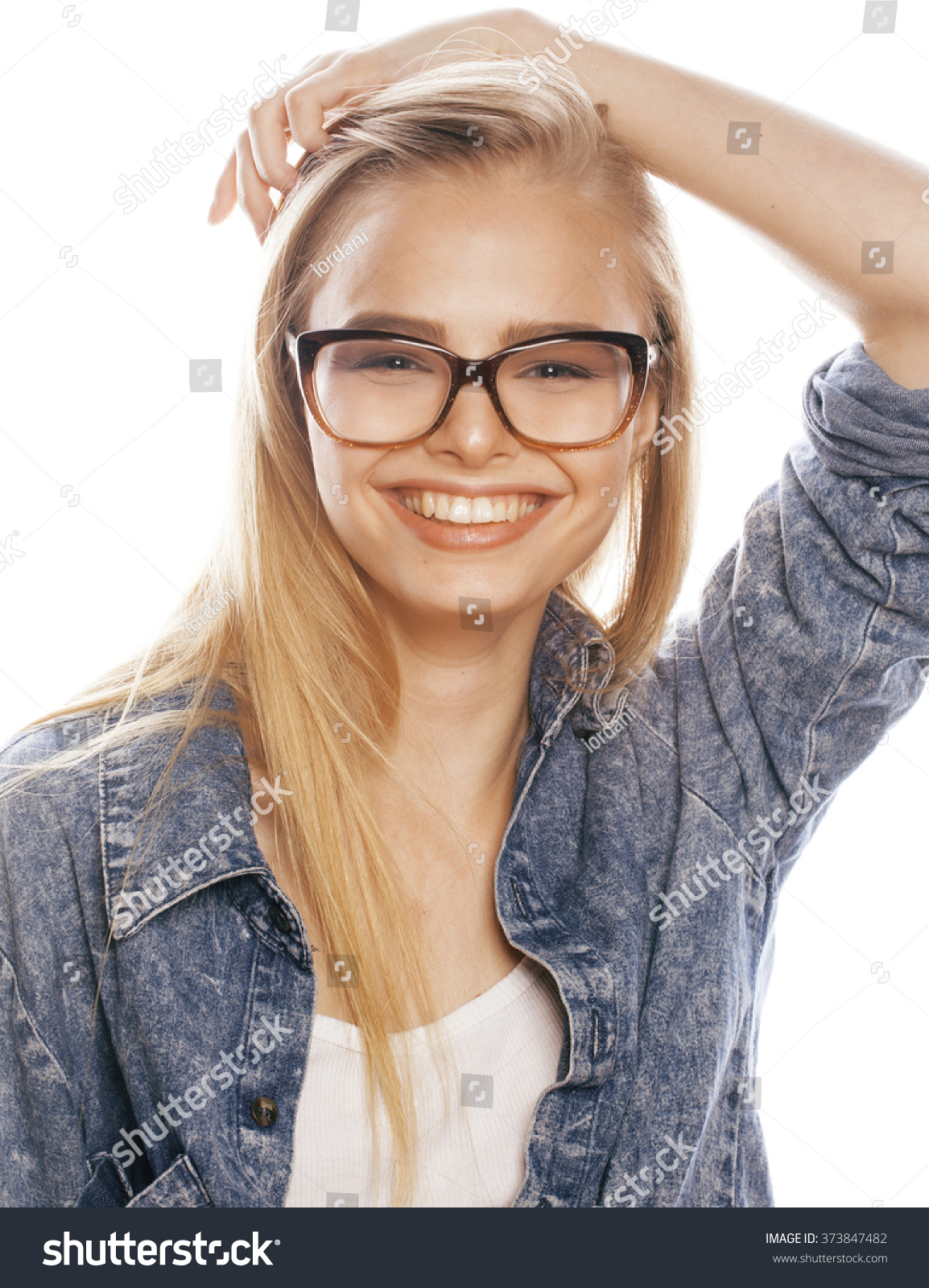girl with short blonde hair hipster glasses girl with ...