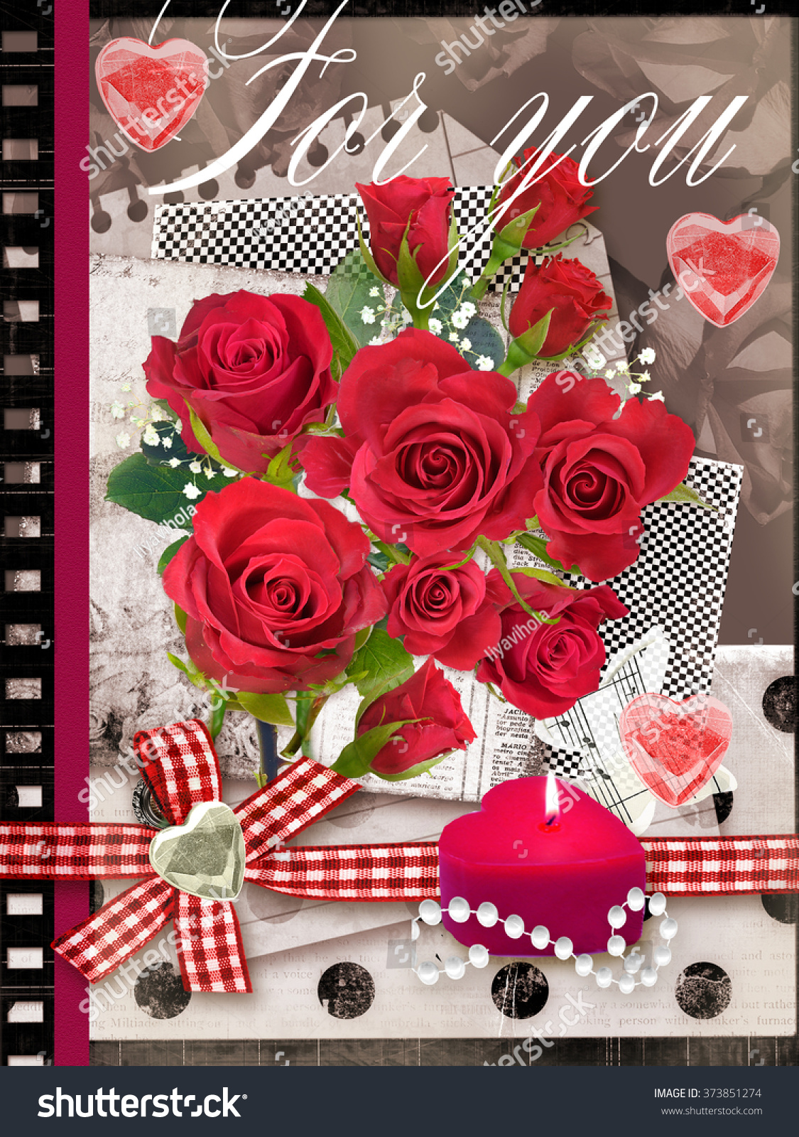 Holiday Card Bouquet Beautiful Roses On Stock Illustration 373851274 ...