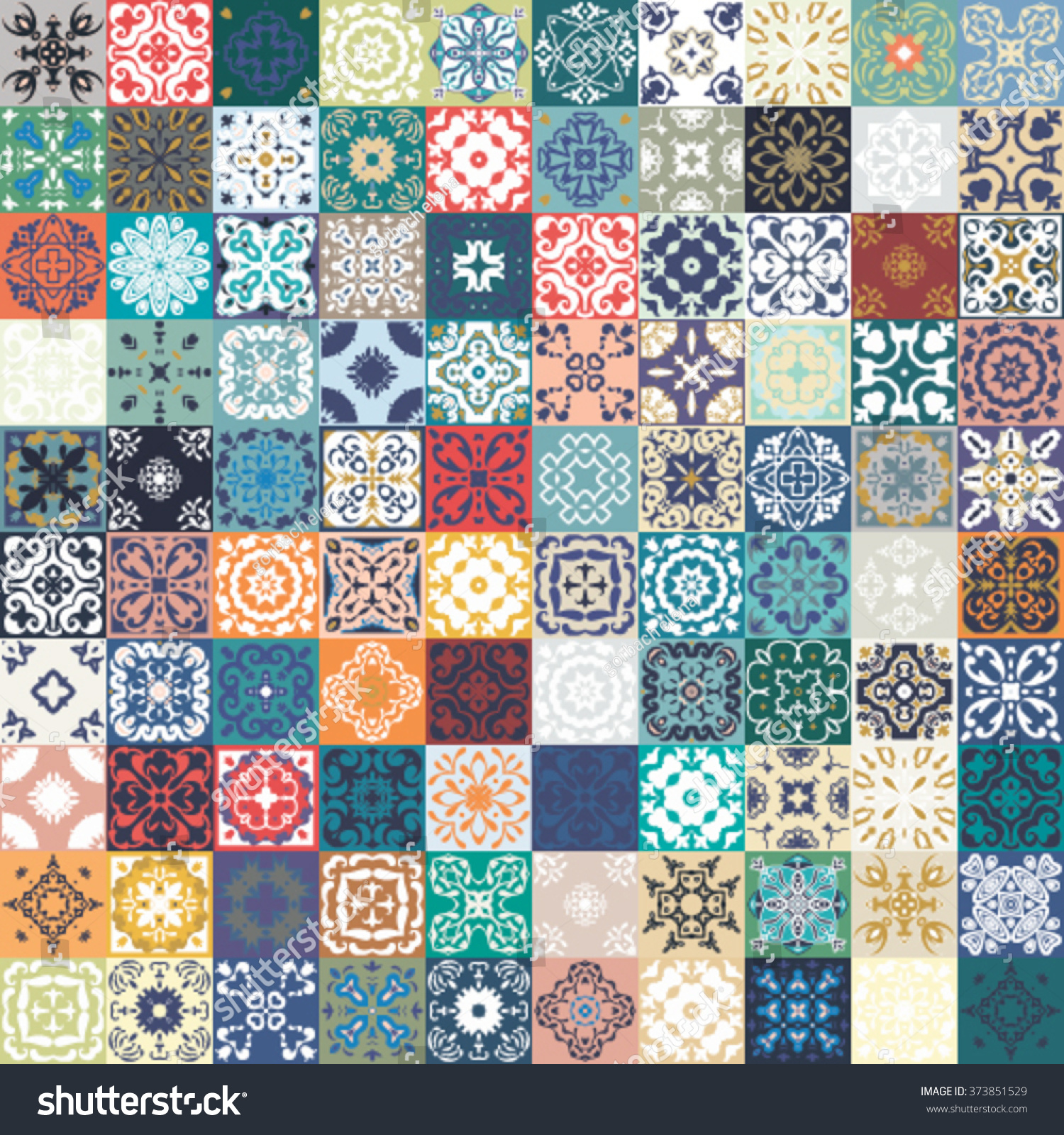 Colorful Kitchen Floor Tile Floral