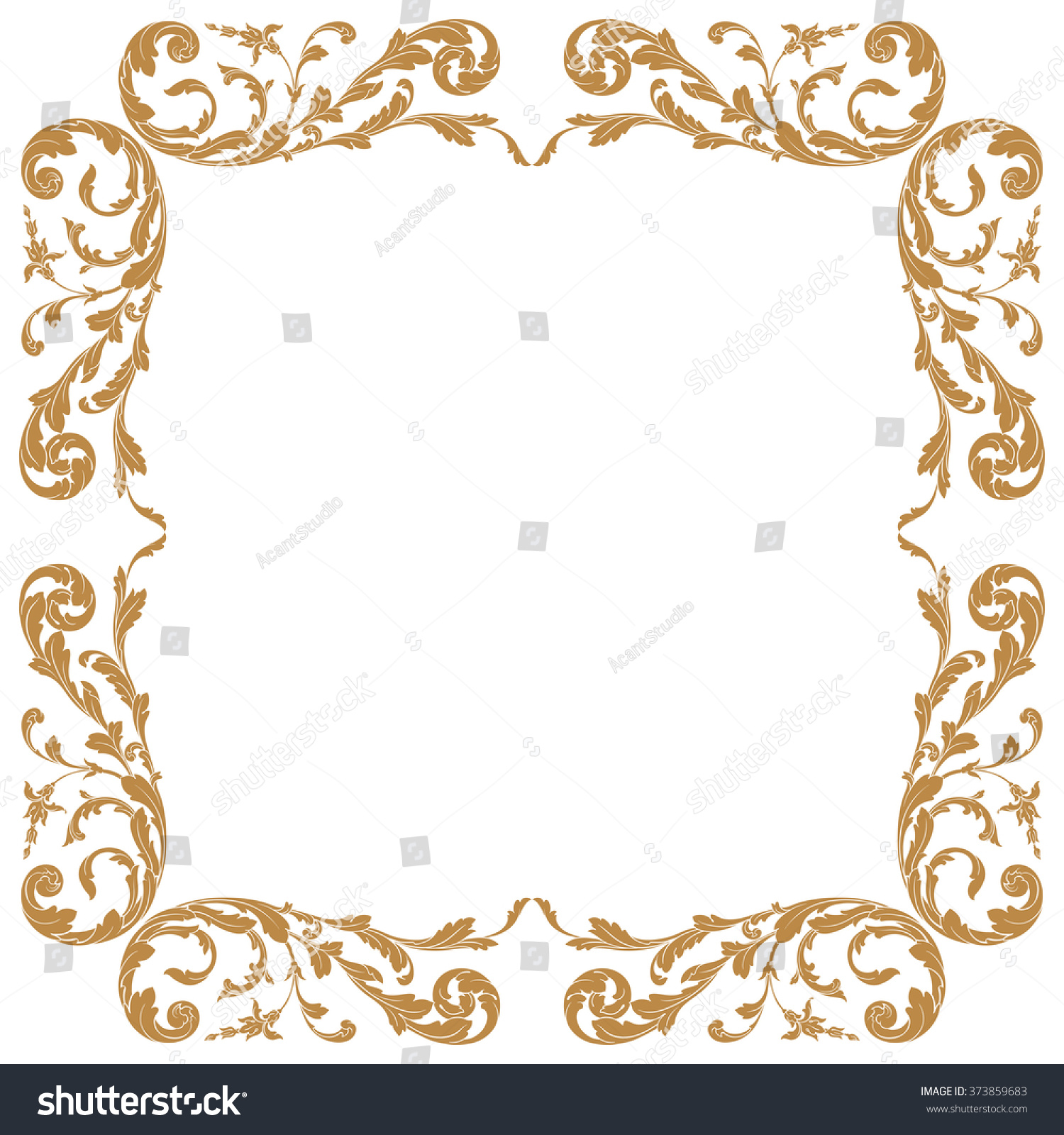 Antique Scroll Design: Premium Gold Vintage Baroque Frame Scroll Stock Vector