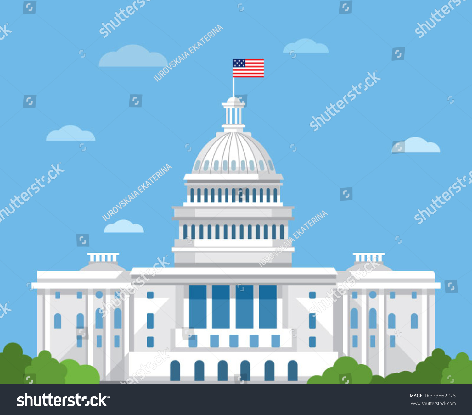 White House Vector Flat Illustration Washington 373862278 Shutterstock