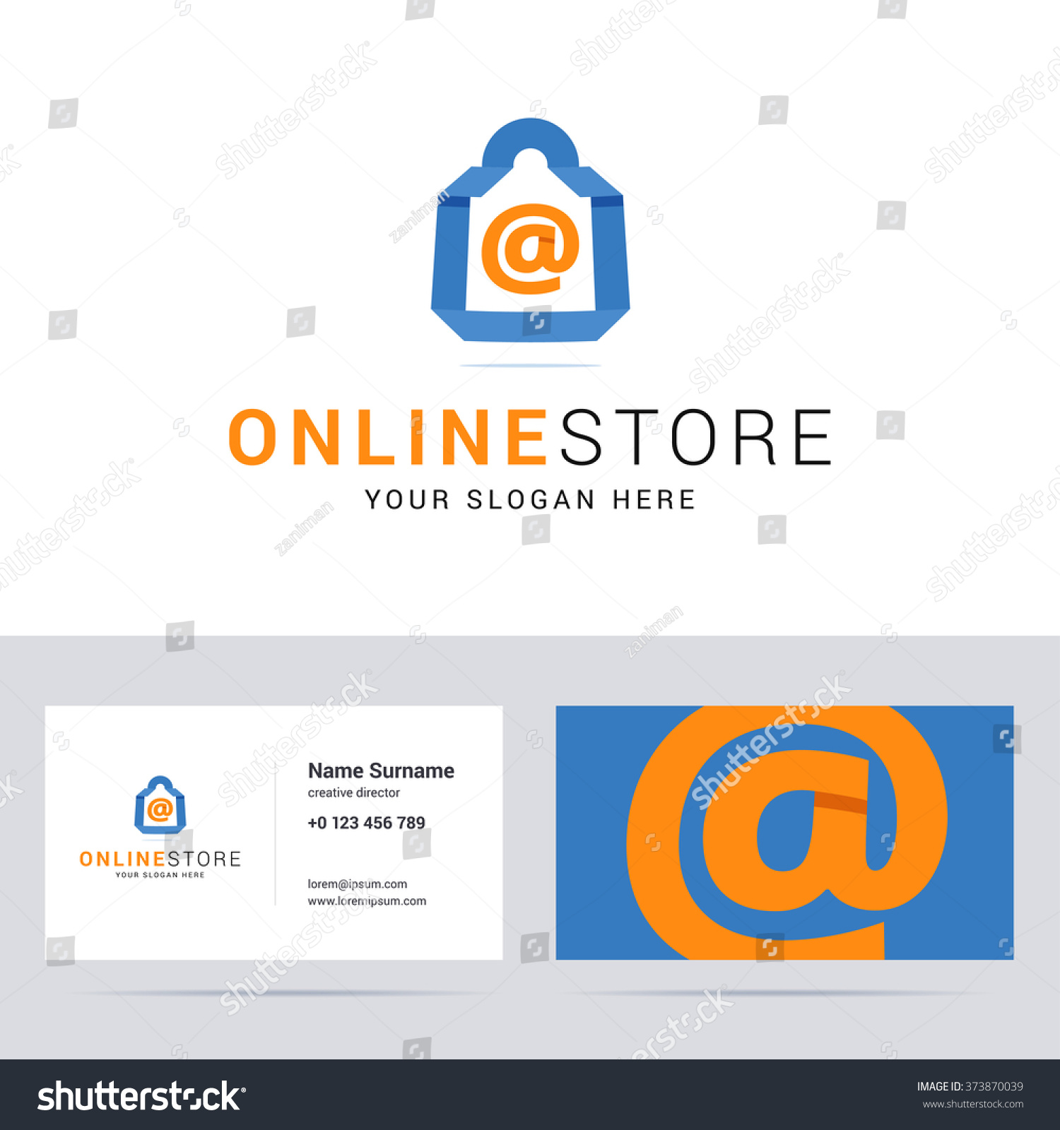 Logo business card template online shop stock vector 373870039 logo and business card template for online shop online store blue shop bag sign fbccfo Gallery