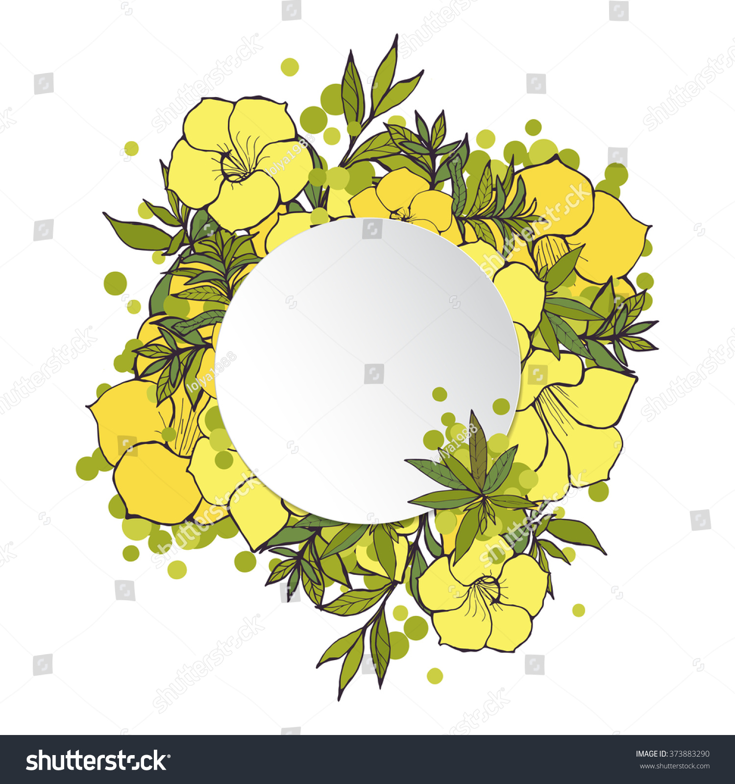 Floral Frame Yellow Exotic Flowers Border Stock Illustration ...