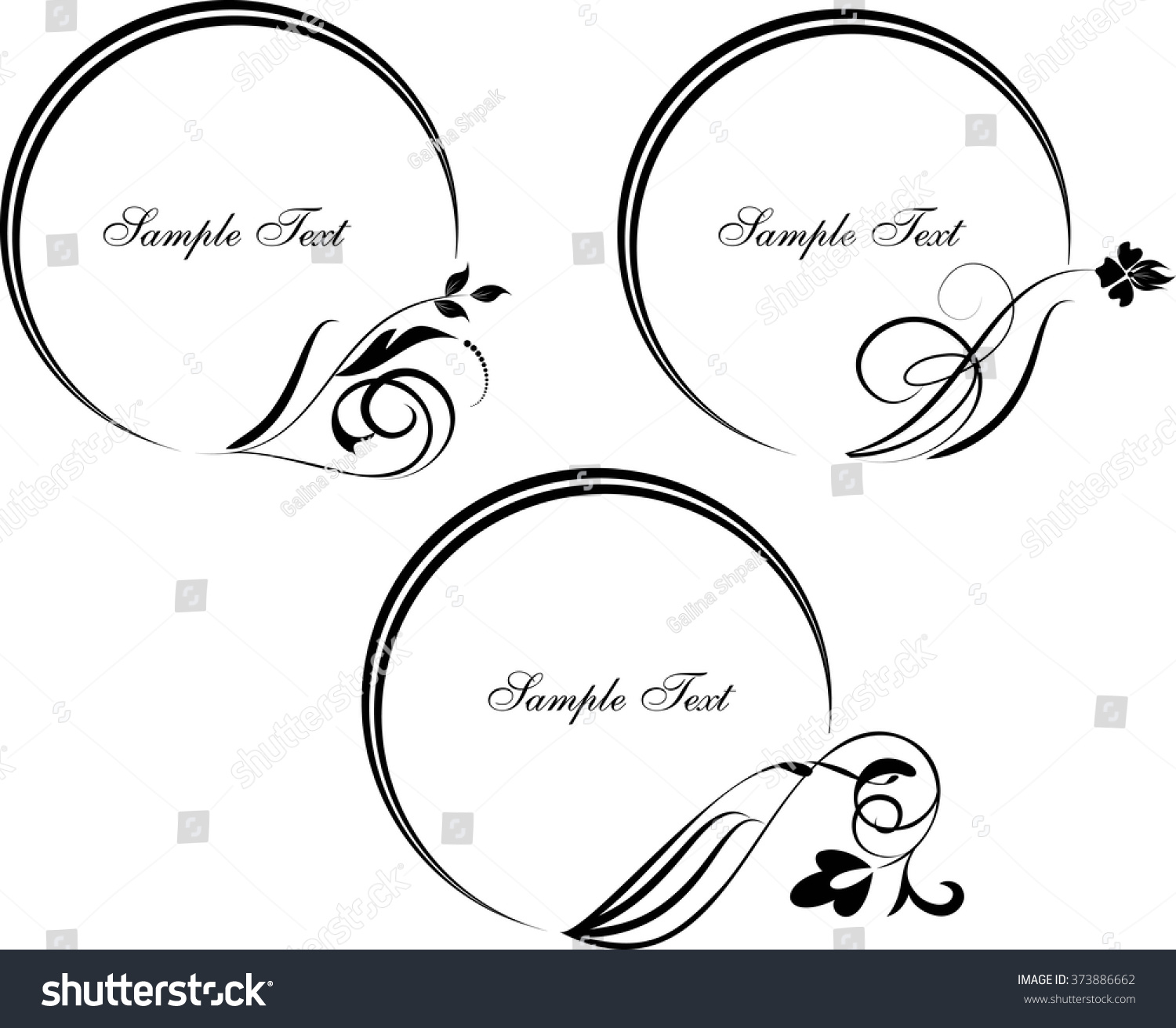 Round frame with decorative branch vector illustration stock - Set Of Round Frame With Decorative Branch Vector Illustration