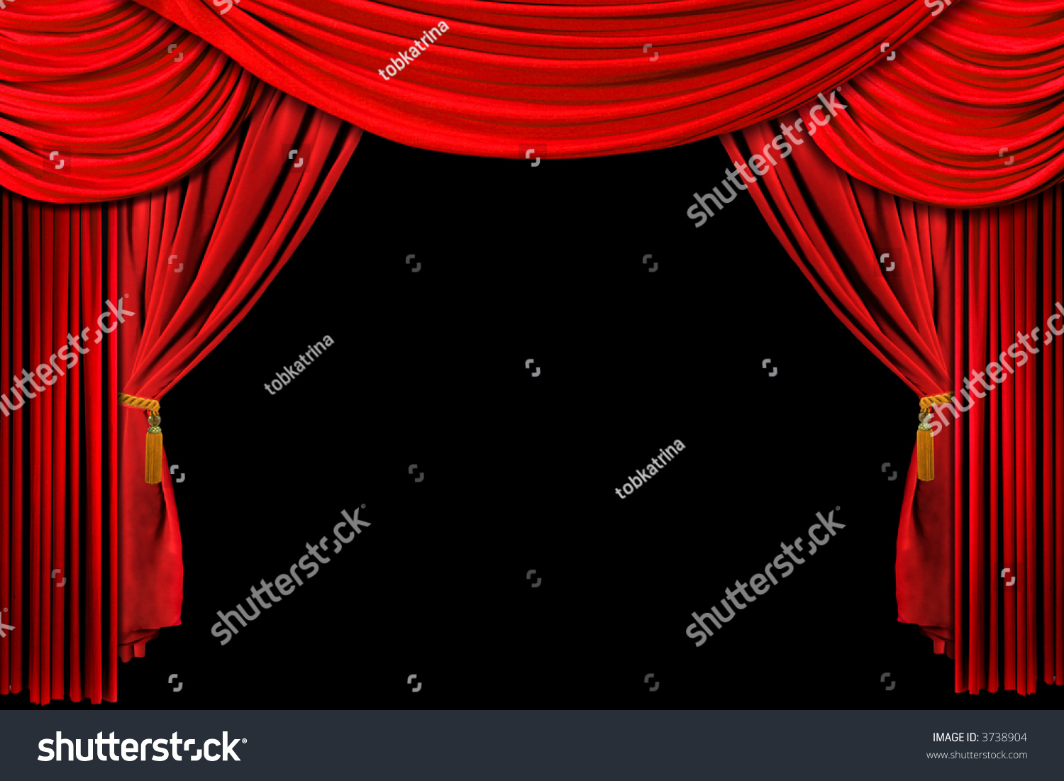Black theatre curtain - Bright Red Stage Theater Draped Curtain Background On Black