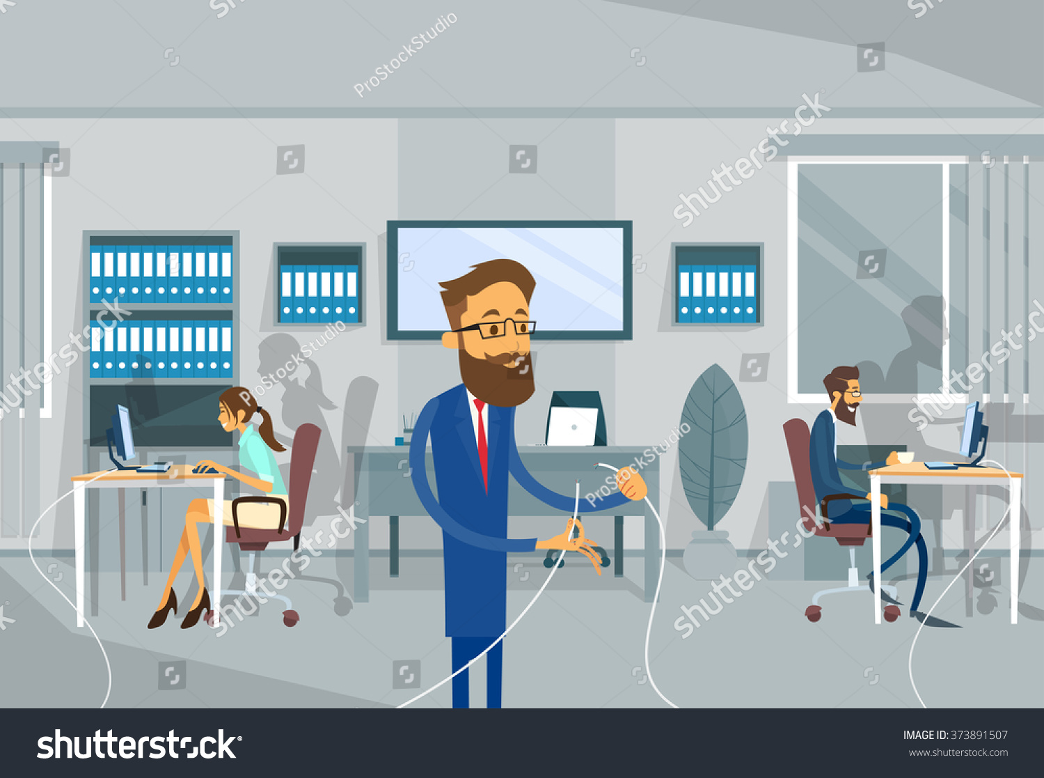 business man disconnect cable office internet stock vector business man disconnect cable office internet network connection problem concept vector illustration