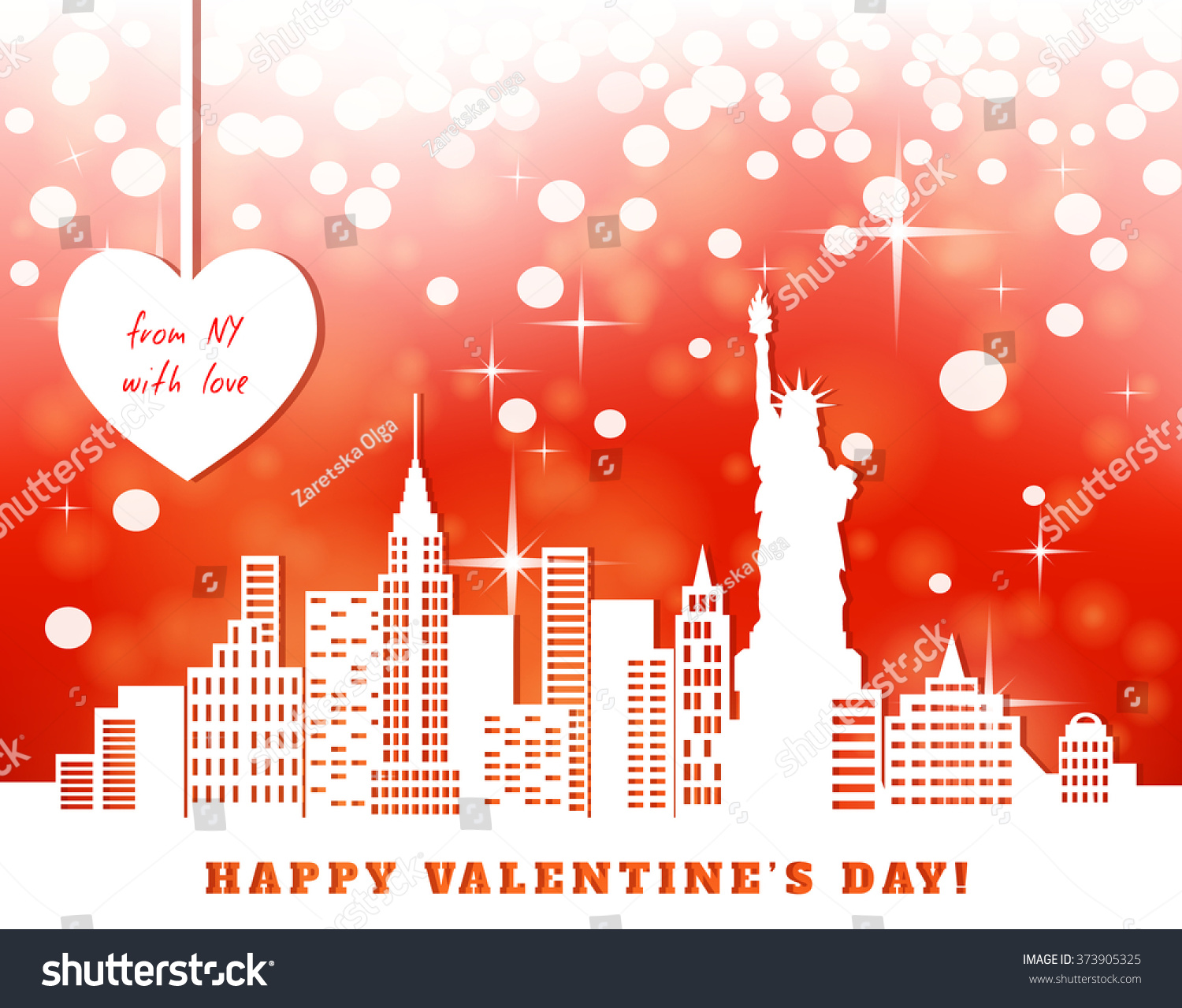 Valentine Greeting Card New York Downtown Stock Vector 373905325