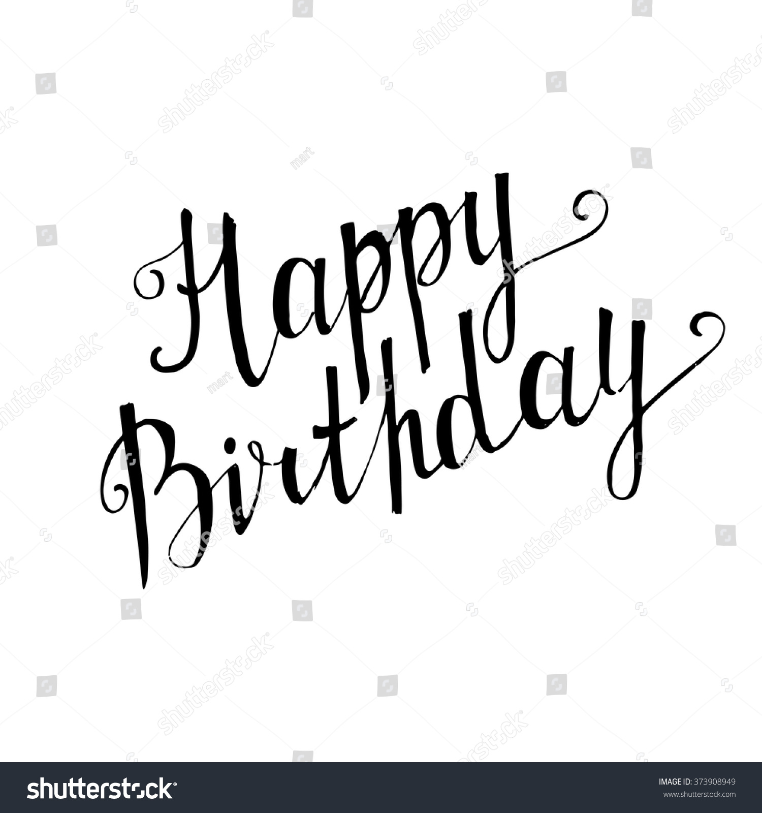 Happy birthday sign in elegant black script type with ornament - Happy Birthday Handwritten Lettering On White Background