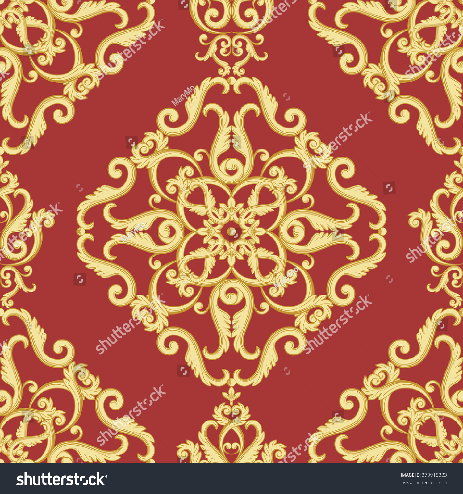 Seamless Damask Pattern Gold Red Texture Stock Vector (Royalty Free ...