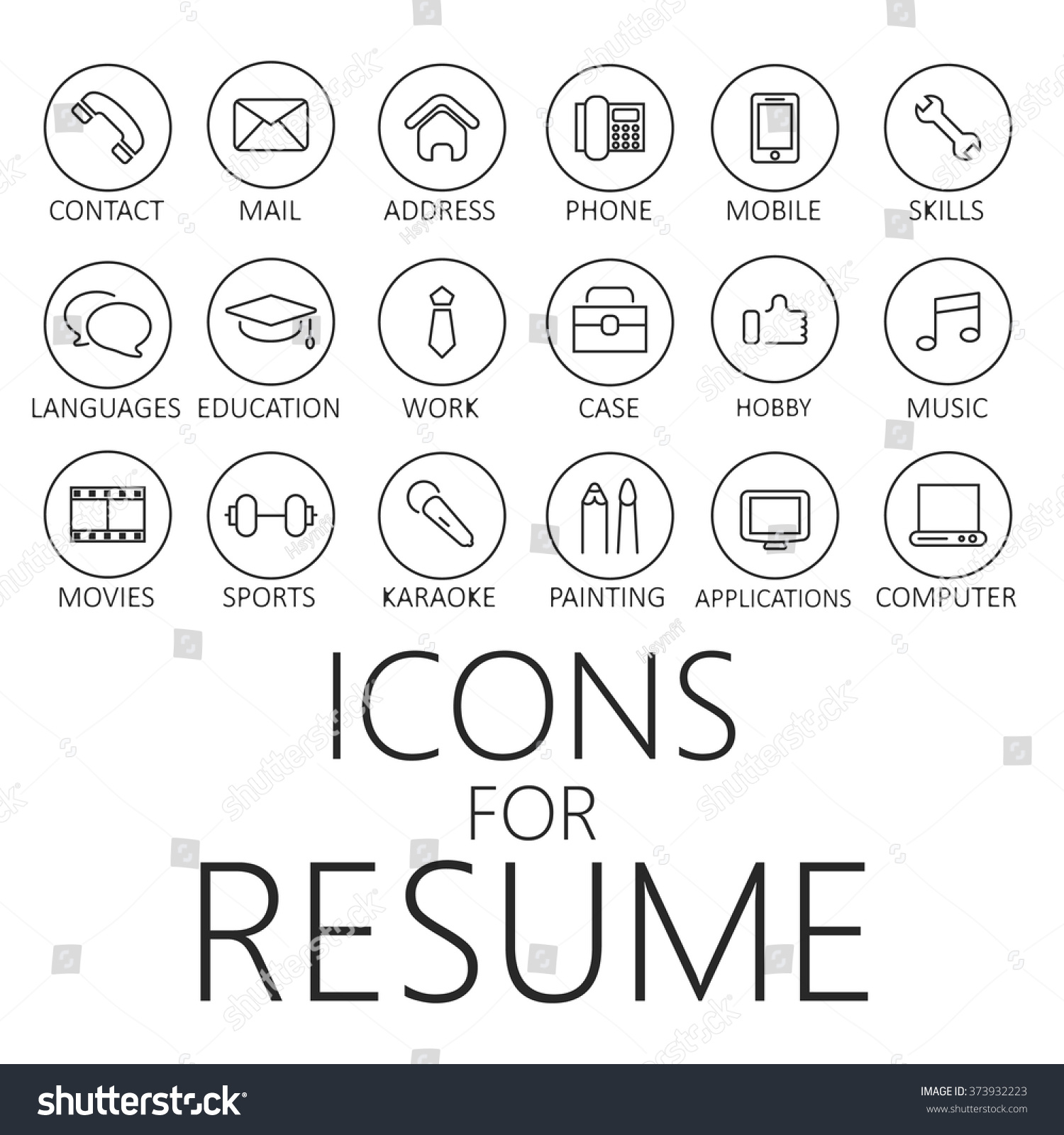 thin line icons pack cv resume stock vector 373932223 shutterstock thin line icons pack for cv resume job