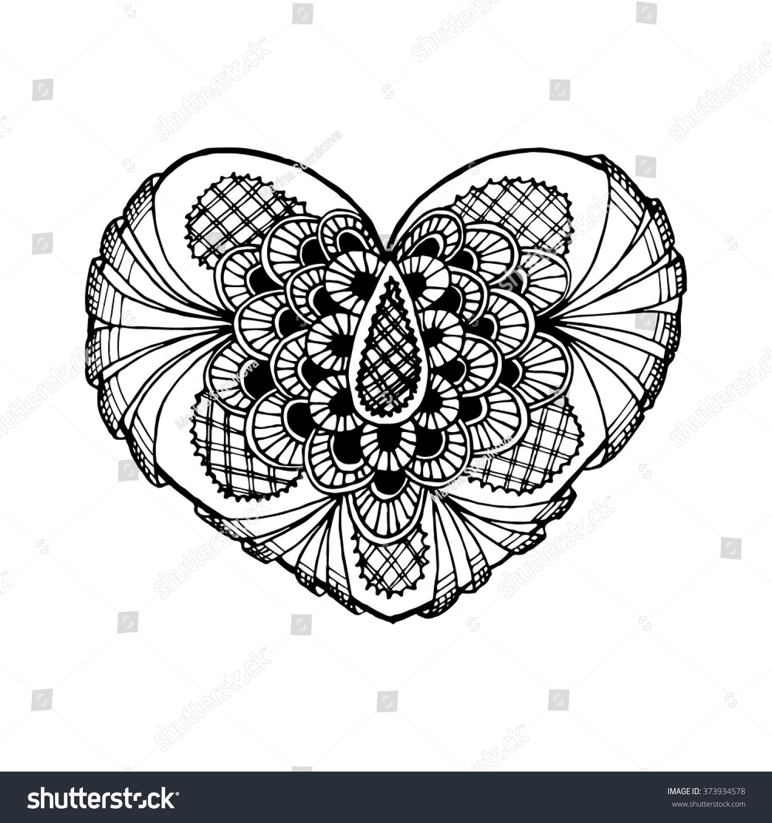 Zentange Heart Black And White Doodle