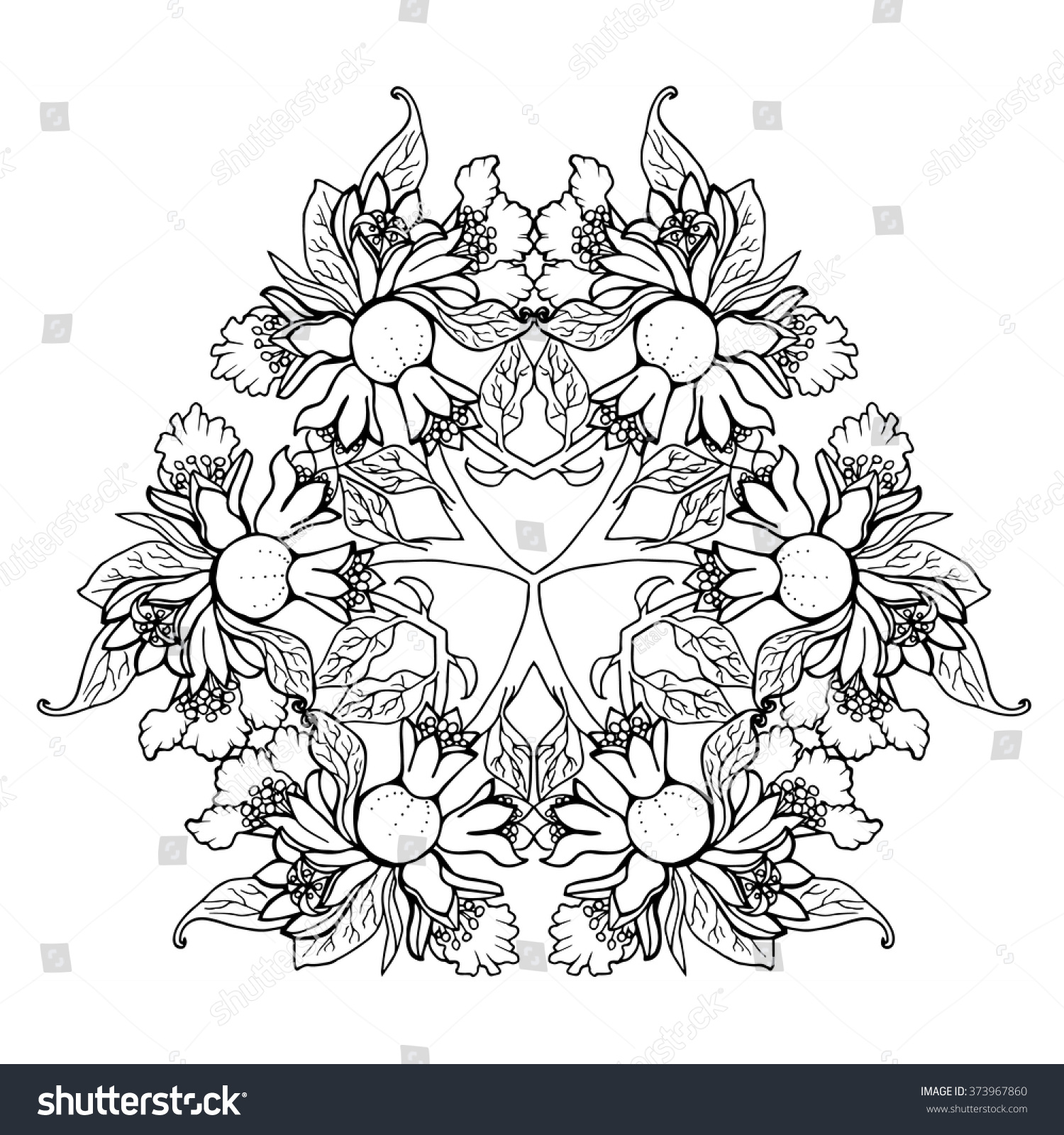 Flower arrangement coloring pages - Pomegranate Flowers Vector Mandala Hand Drawn Tropical Art Exotic Plant Design Summer Adult Coloring Page In