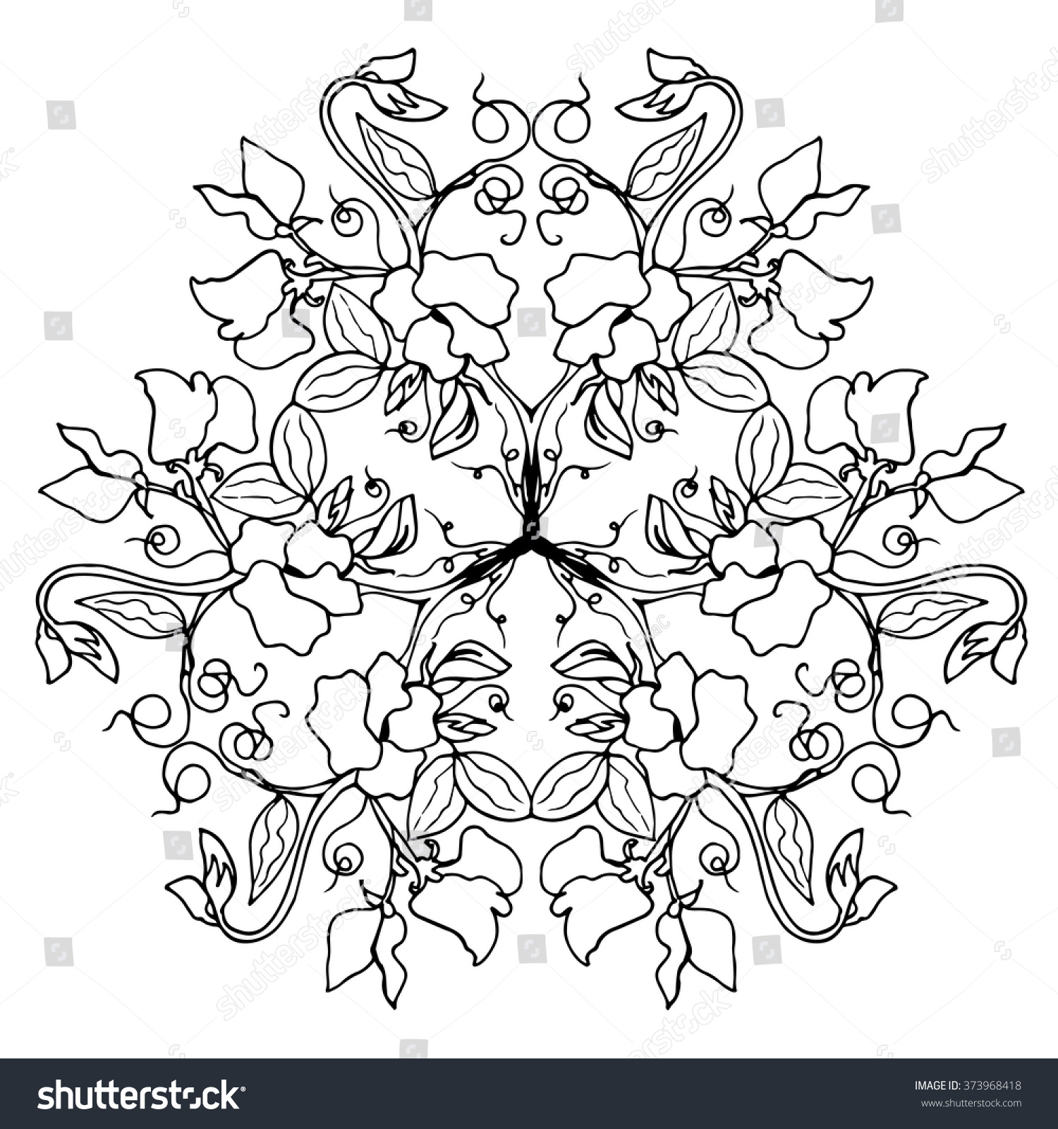sweet pea flower arrangement mandala design stock vector 373968418