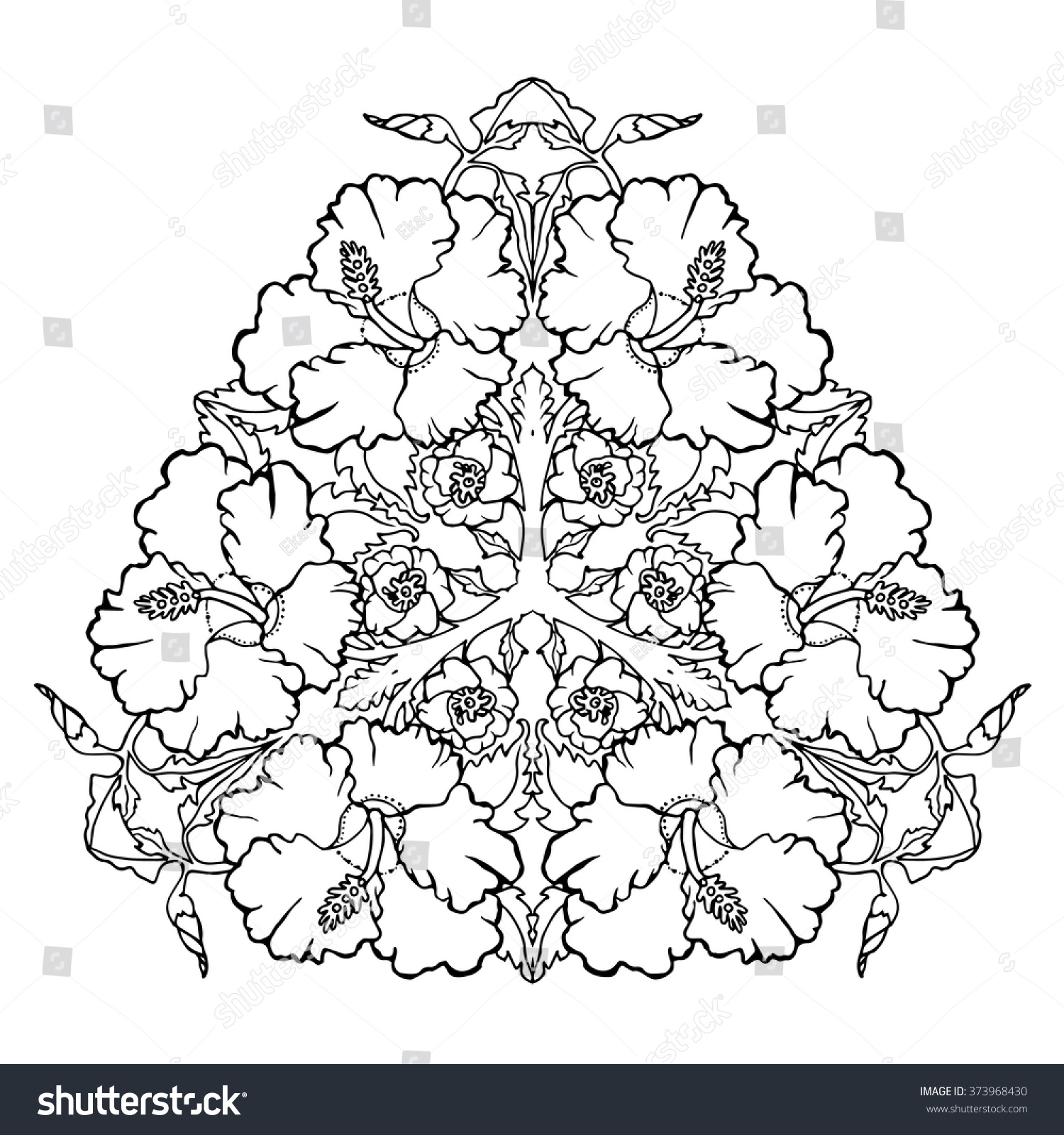 Hibiscus Flower Mandala Coloring Page Adults Stock Vector Royalty