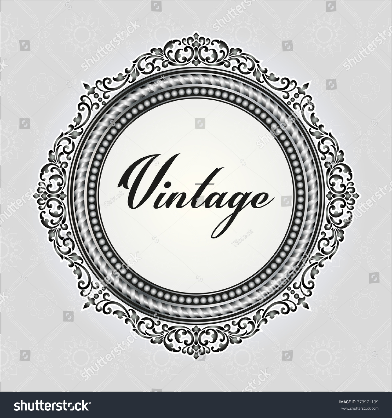 vector vintage border logo frame engraving with retro ornament pattern in antique rococo style decorative design