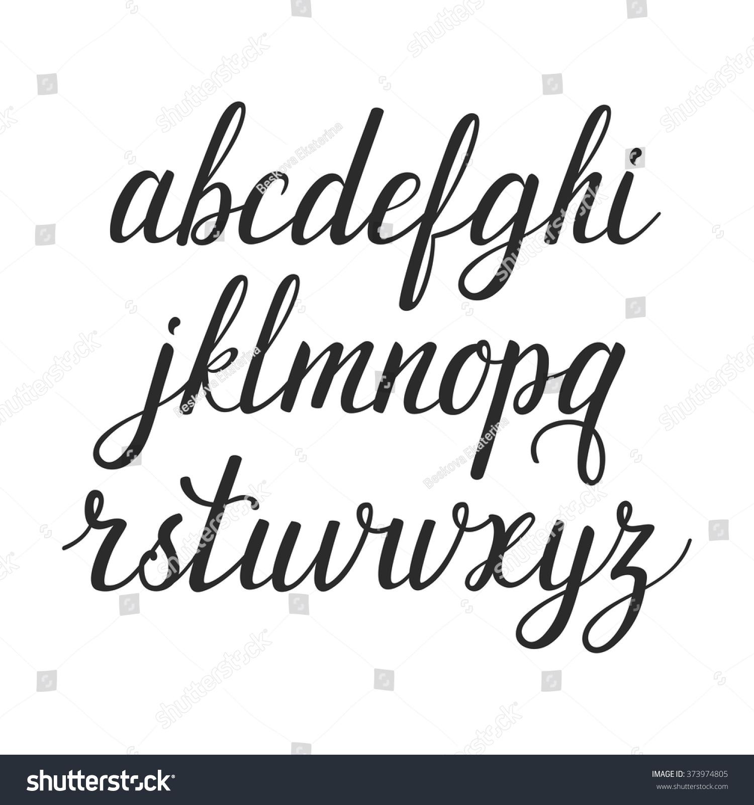 Vector Calligraphic Alphabet Set Beautiful Hand Stock