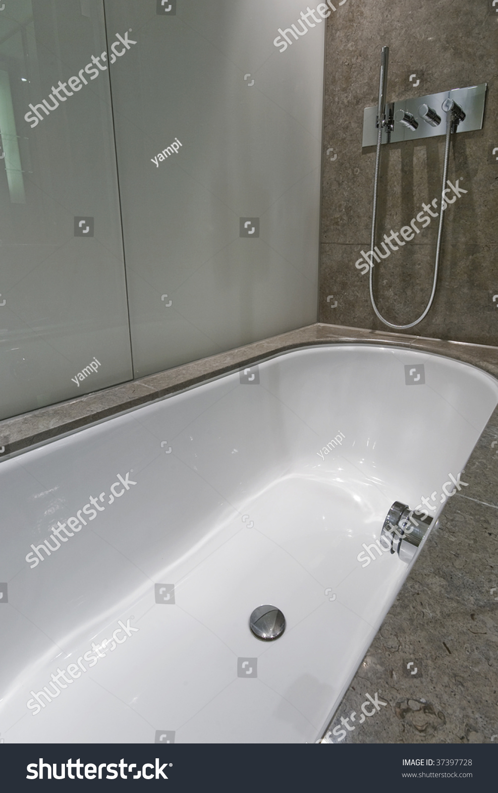 Large Luxury Bath Shower Attachment Marble Stock Photo 37397728 ...