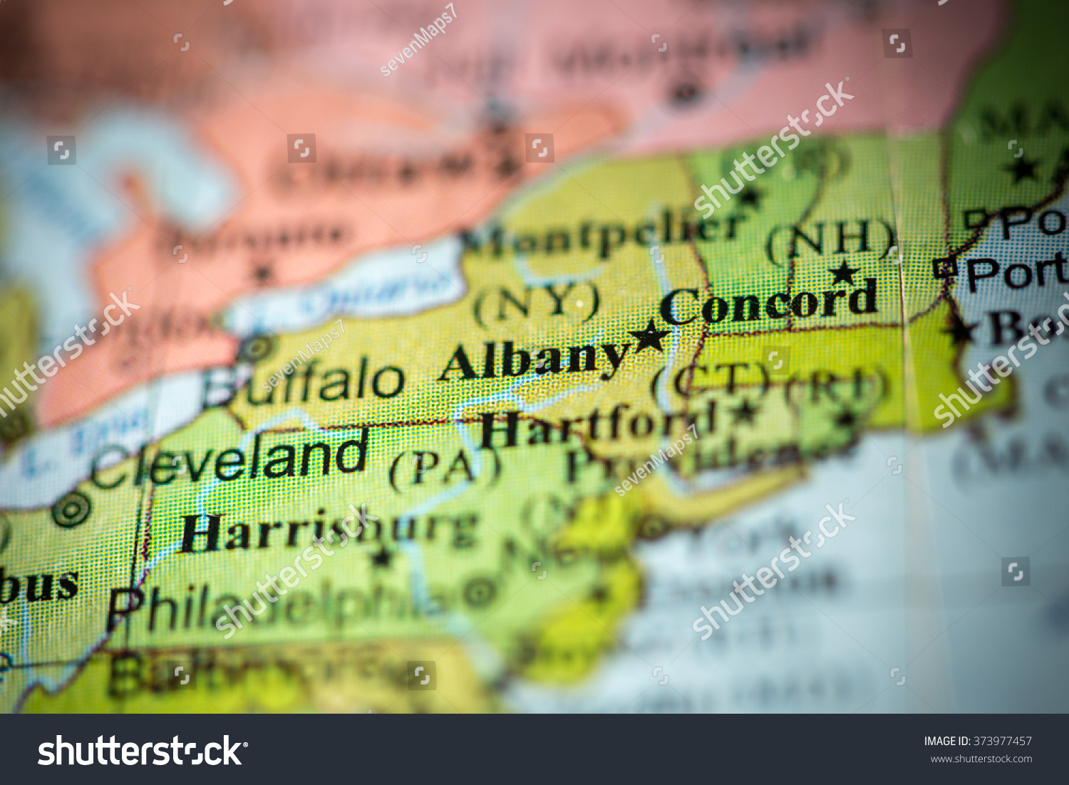 Closeup Albany New York On Political Stock Photo - Map usa political